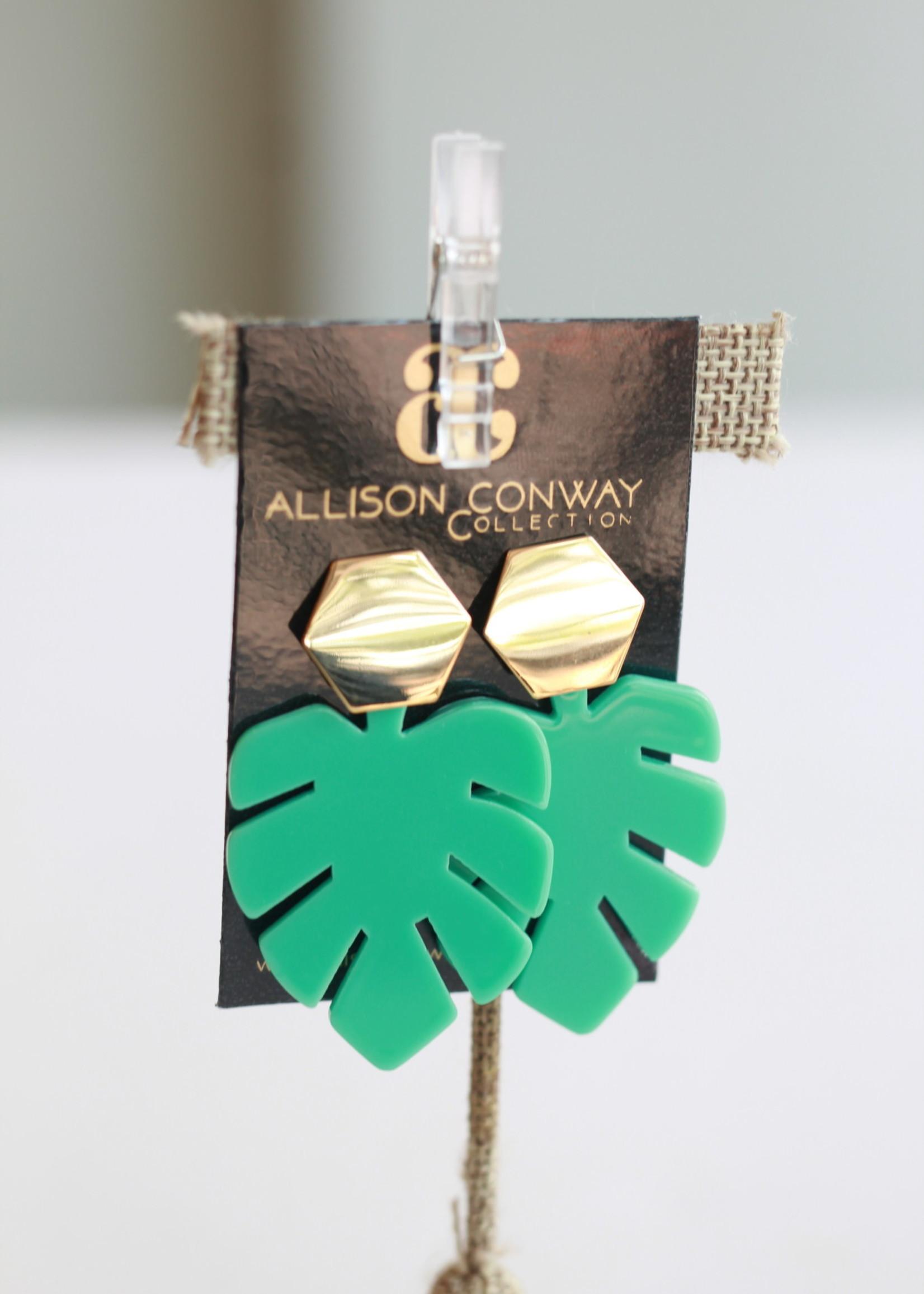 Allison Conway AC Aqua Tropical Leaf Earrings