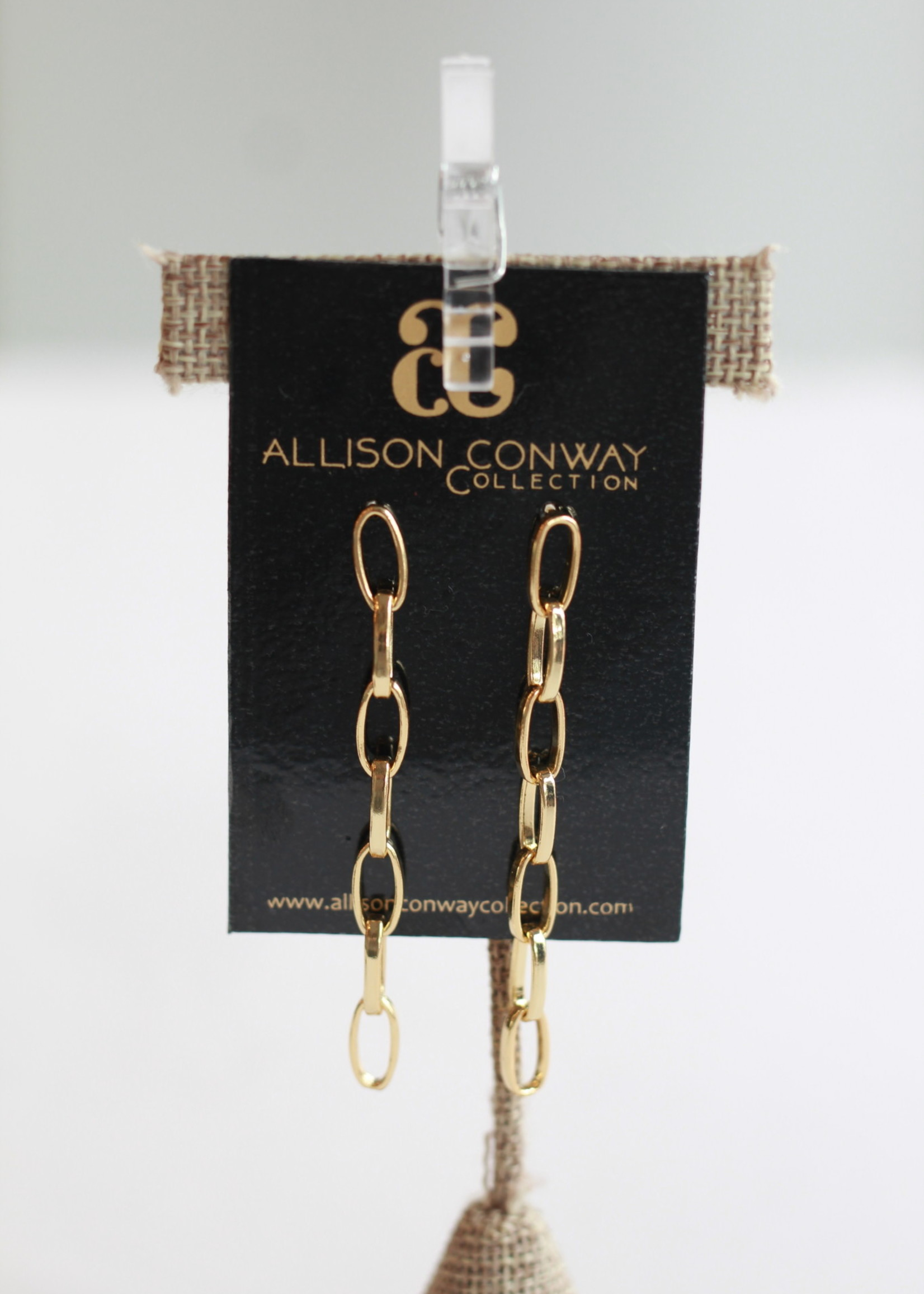 Allison Conway AC Golden Chain Drop Earrings