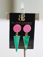 Allison Conway AC Pink and Emerald Green Drop Earrings