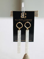 Allison Conway AC Pearly White Bar Earrings
