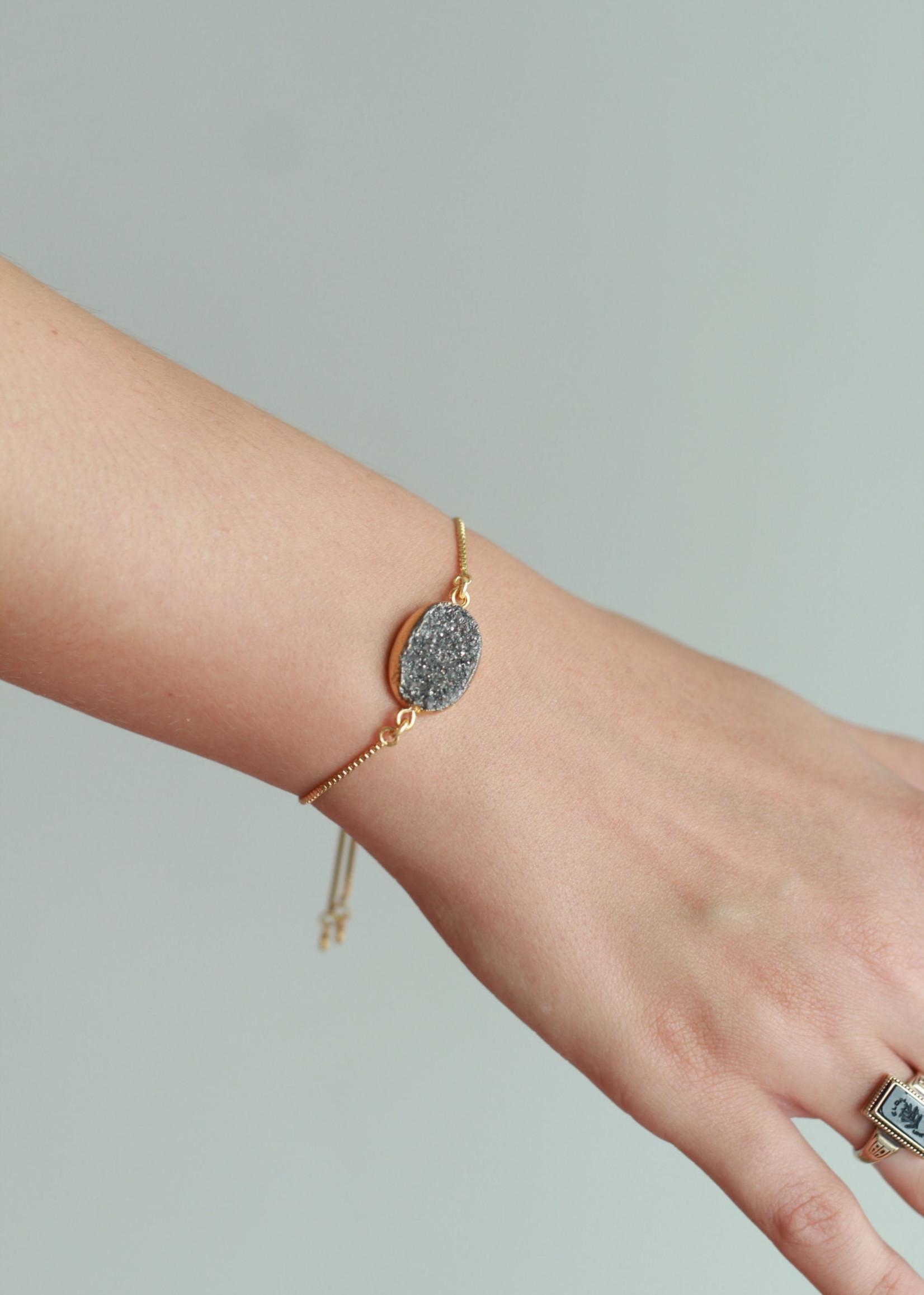 Allison Conway AC Silver Druzy Bracelet