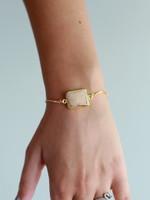 Allison Conway AC Peach Rectangle Druzy Bracelet