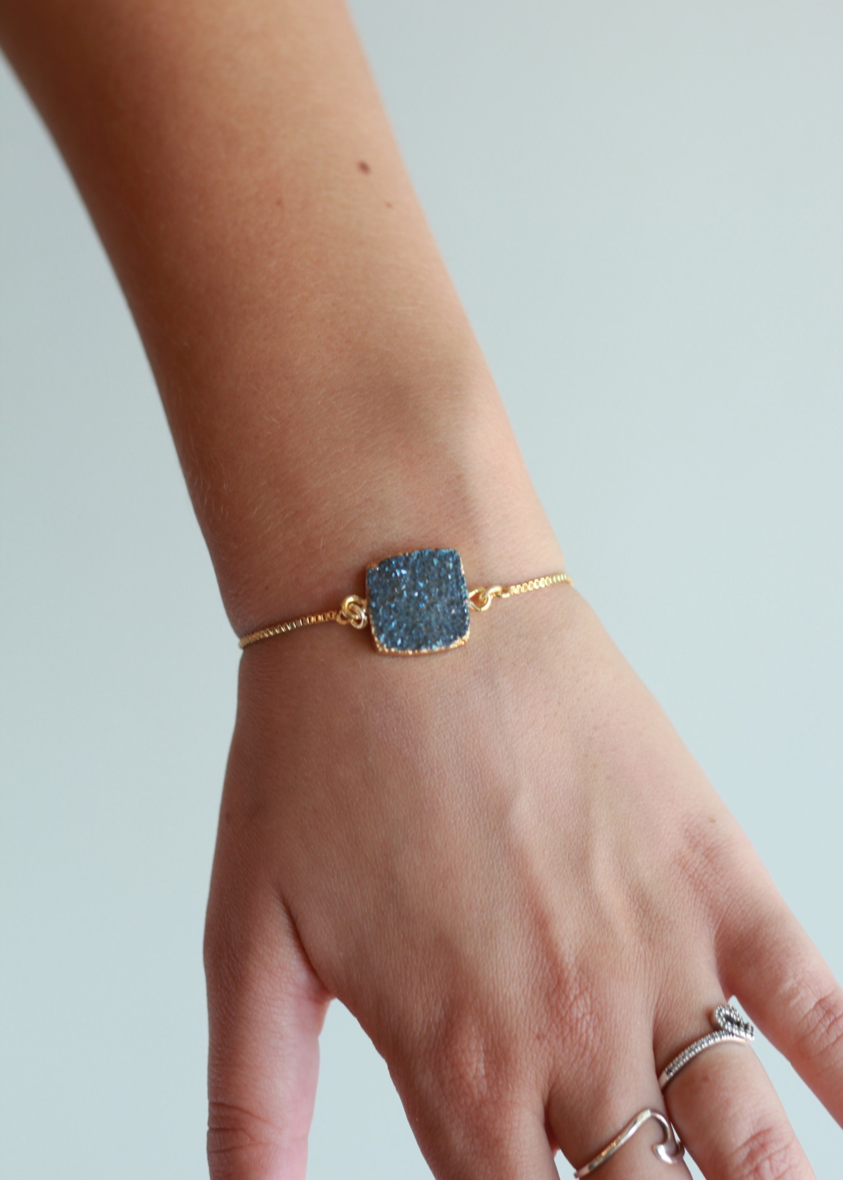 Allison Conway AC Square Denim Druzy Bracelet