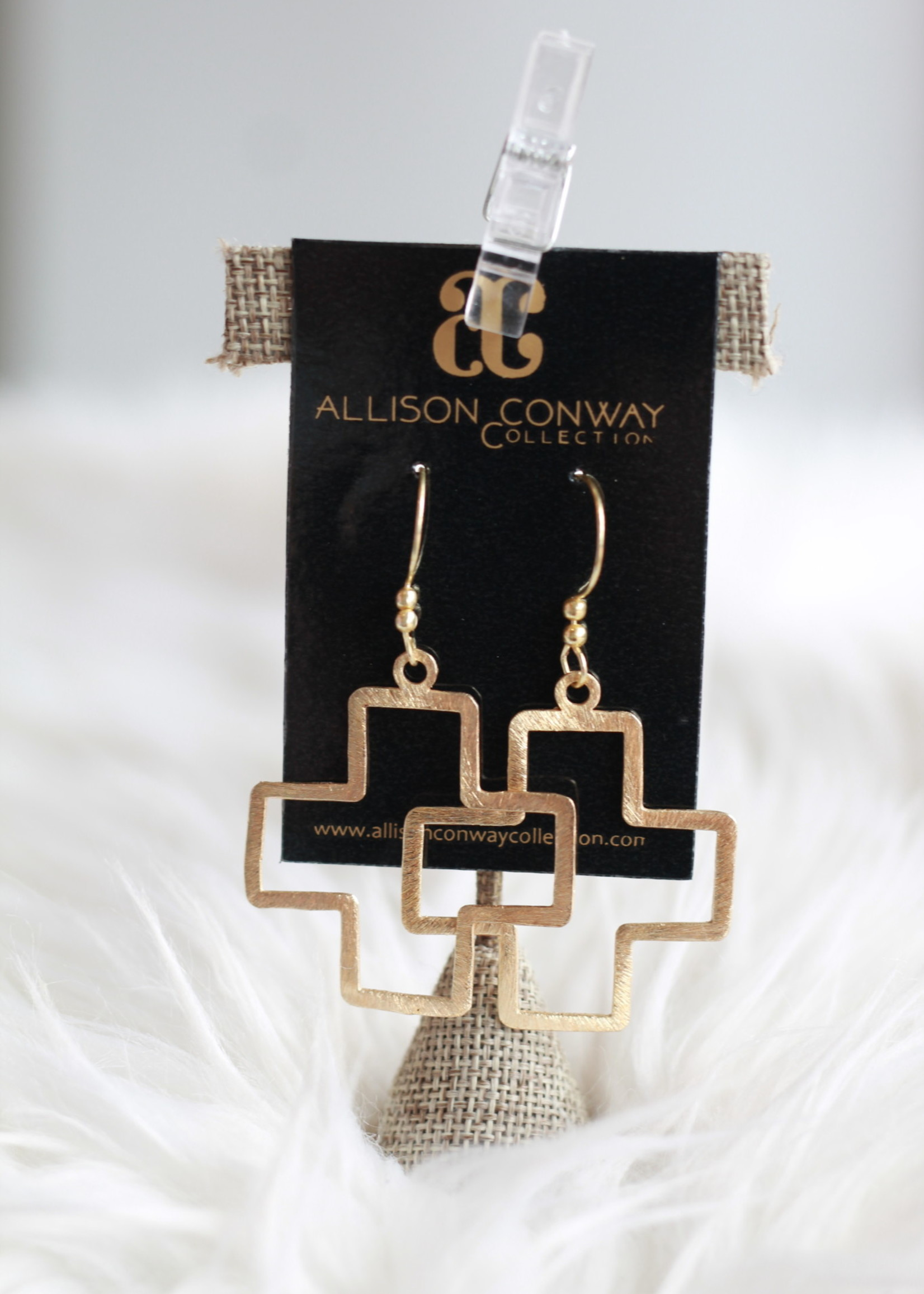 Allison Conway AC Statement Gold Cross Earrings