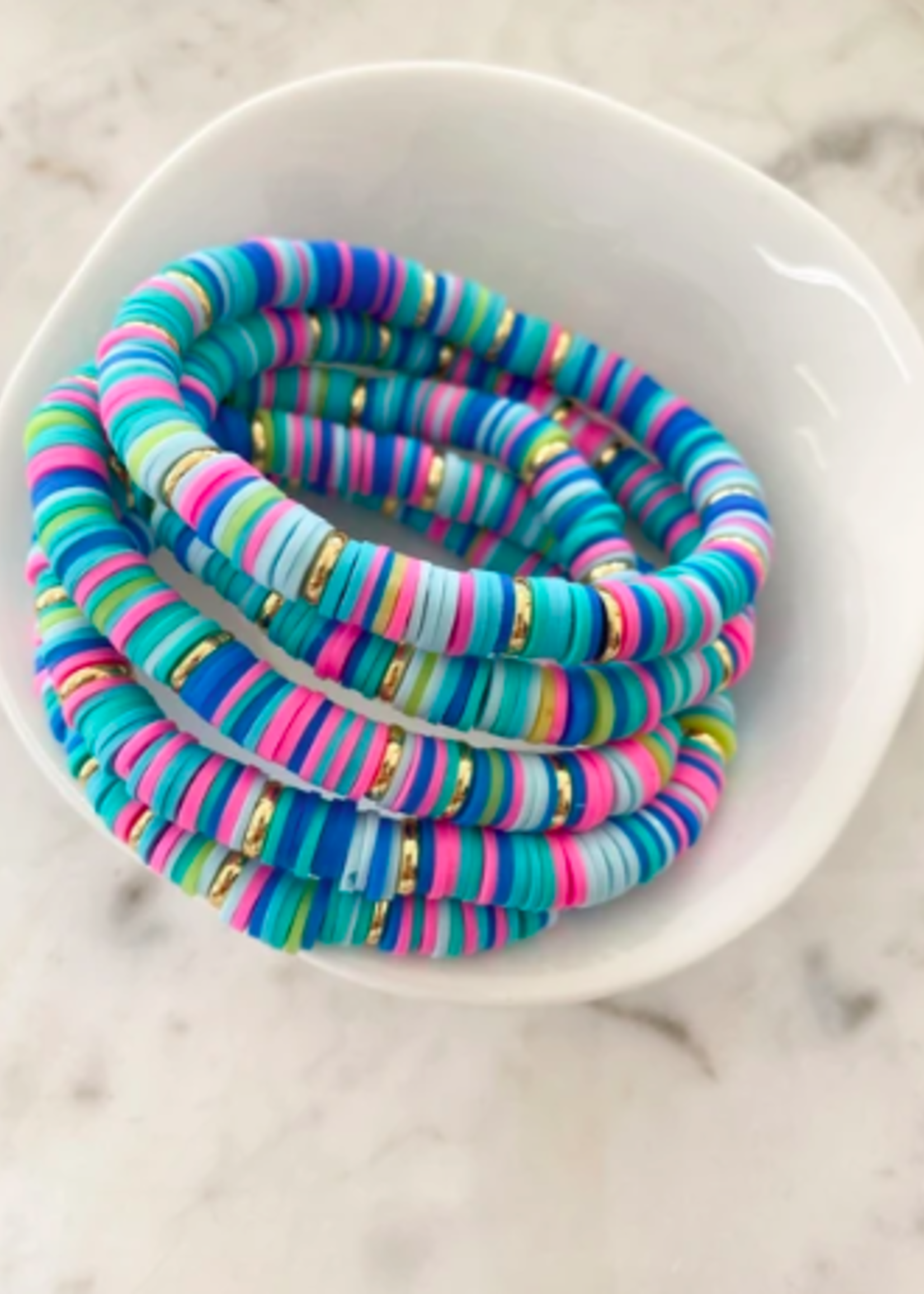Mod Miss Jewelry Aqua Rainbow Gold Disk Bracelet Medium