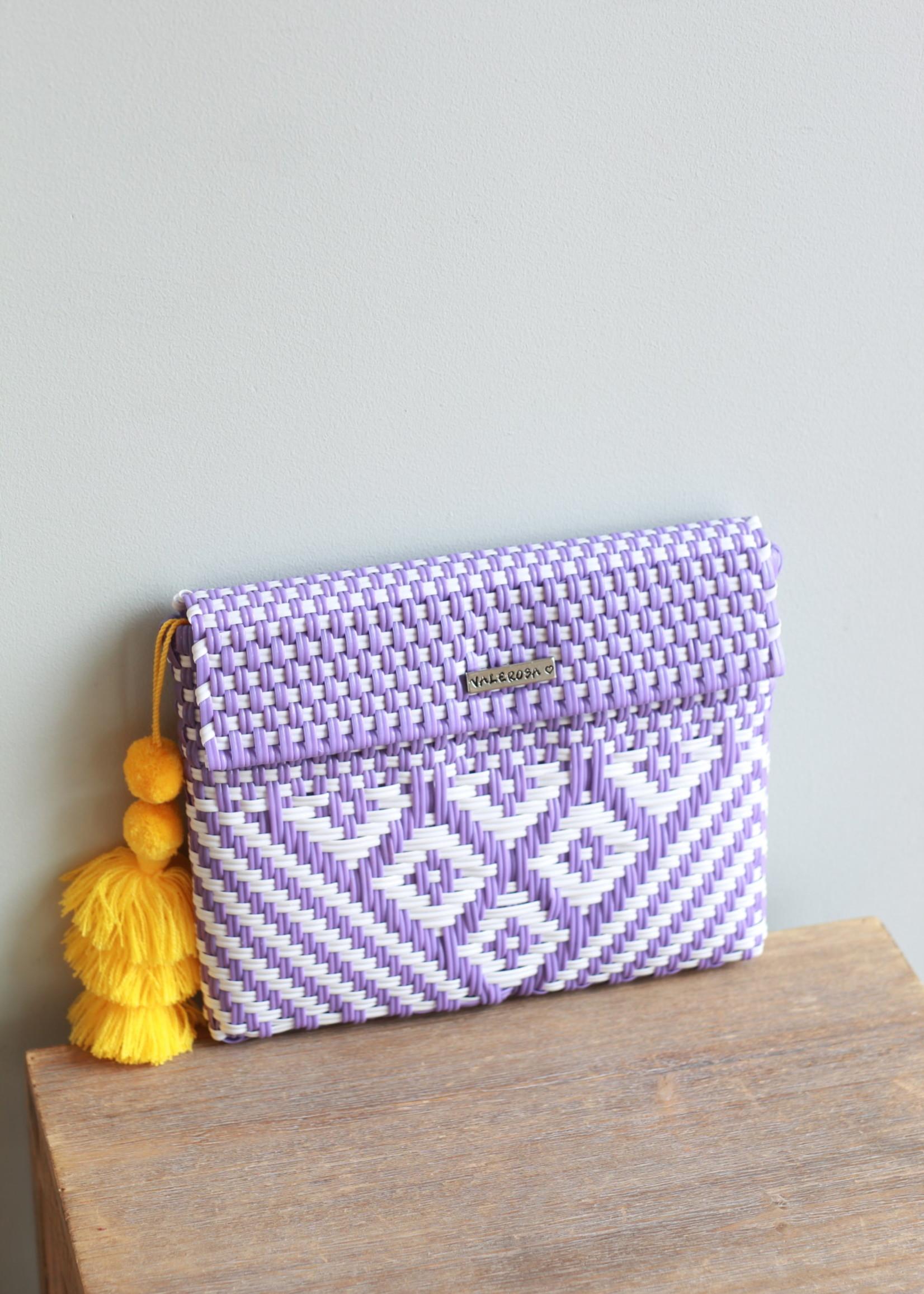 Valerosa Boutique Valerosa Lavender & White Clutch With Yellow Tassle