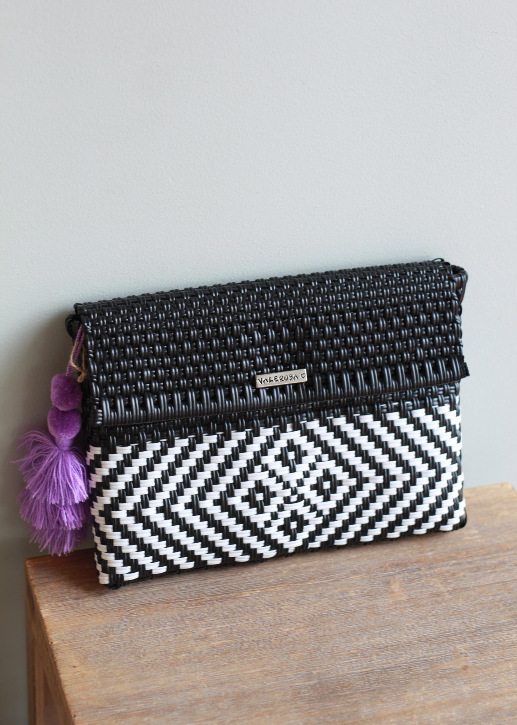 Valerosa Boutique Valerosa Black & White Clutch With Lavender Tassel