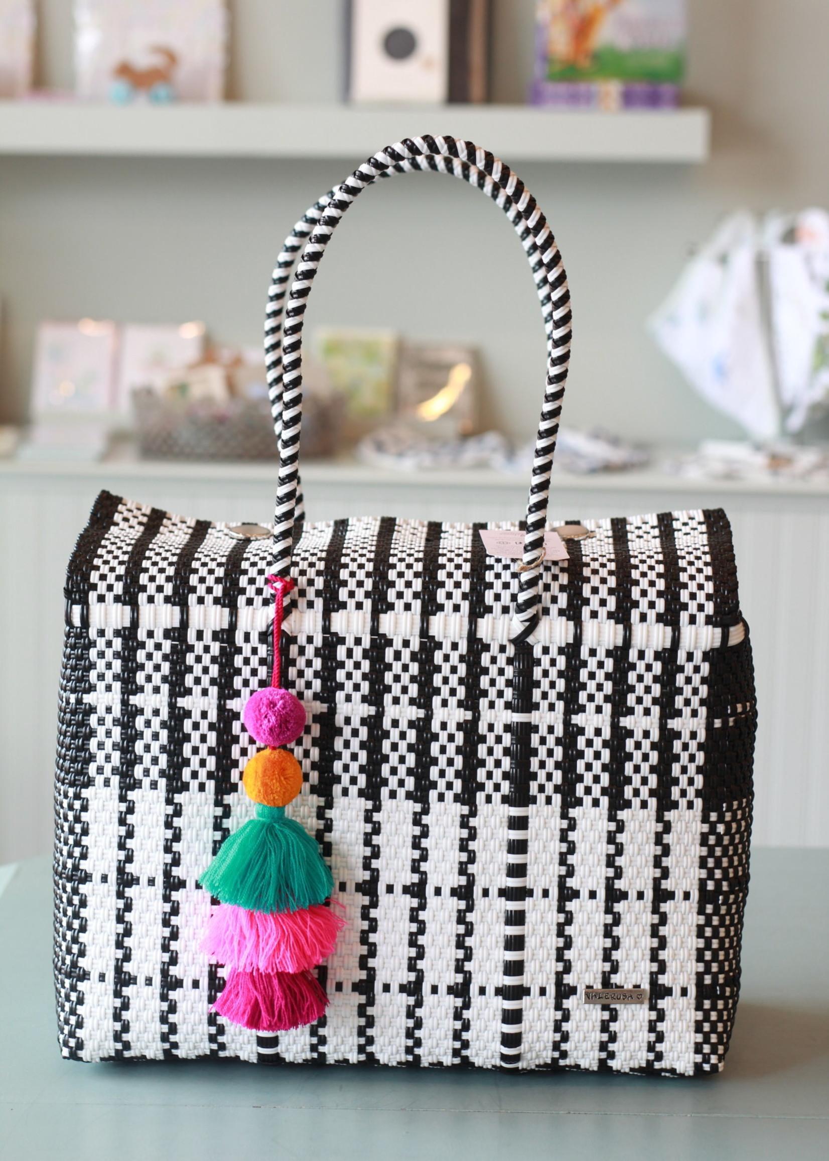 Valerosa Boutique Valerosa Black & White Dia Duffle With Colorful Tassel