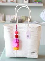 Valerosa Boutique Valerosa White Playera Tote With Colorful Tassel