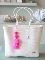 Valerosa Boutique Valerosa White Playera Tote With Pink Tassel