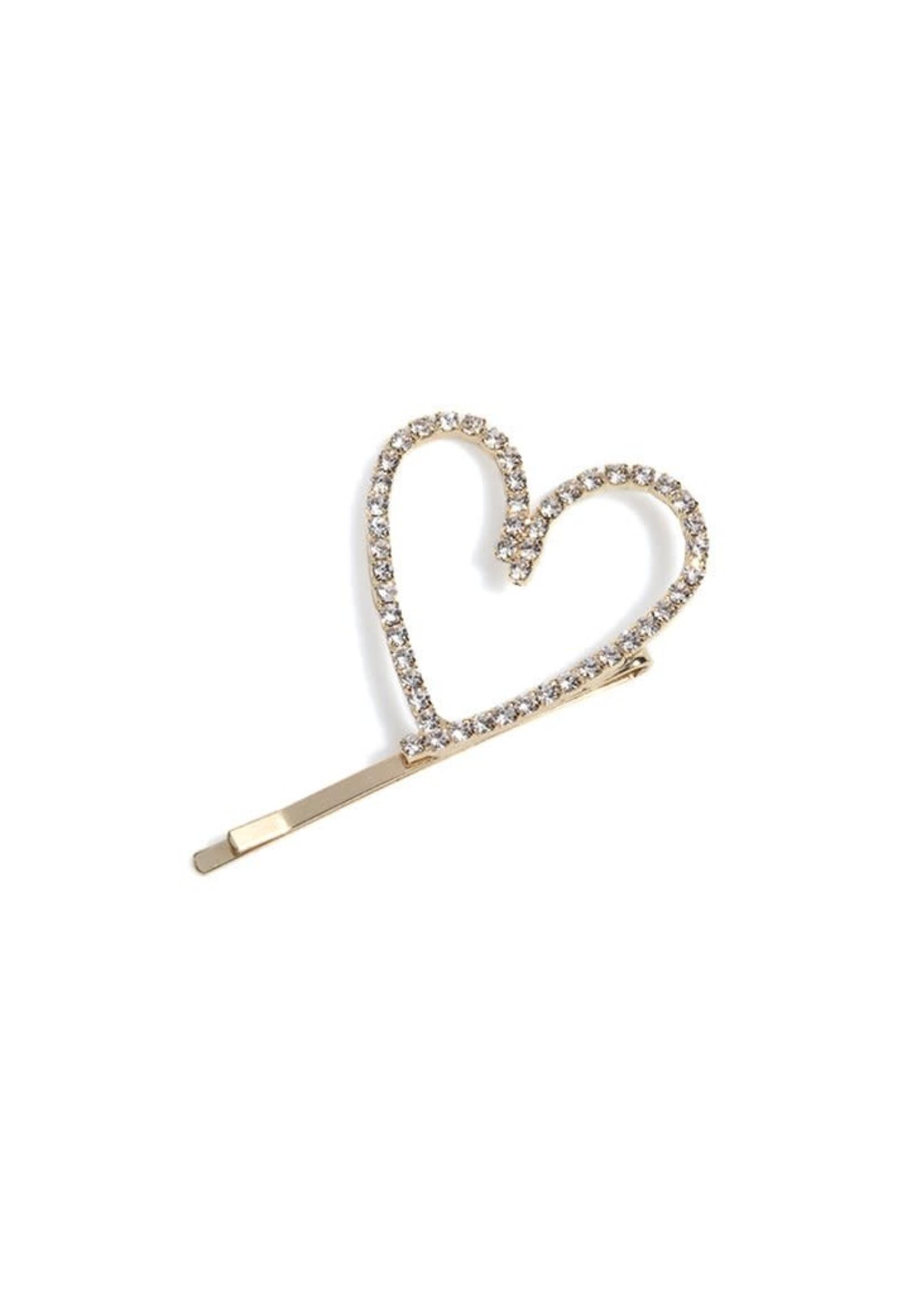 Rhinestone Heart Hair Pin