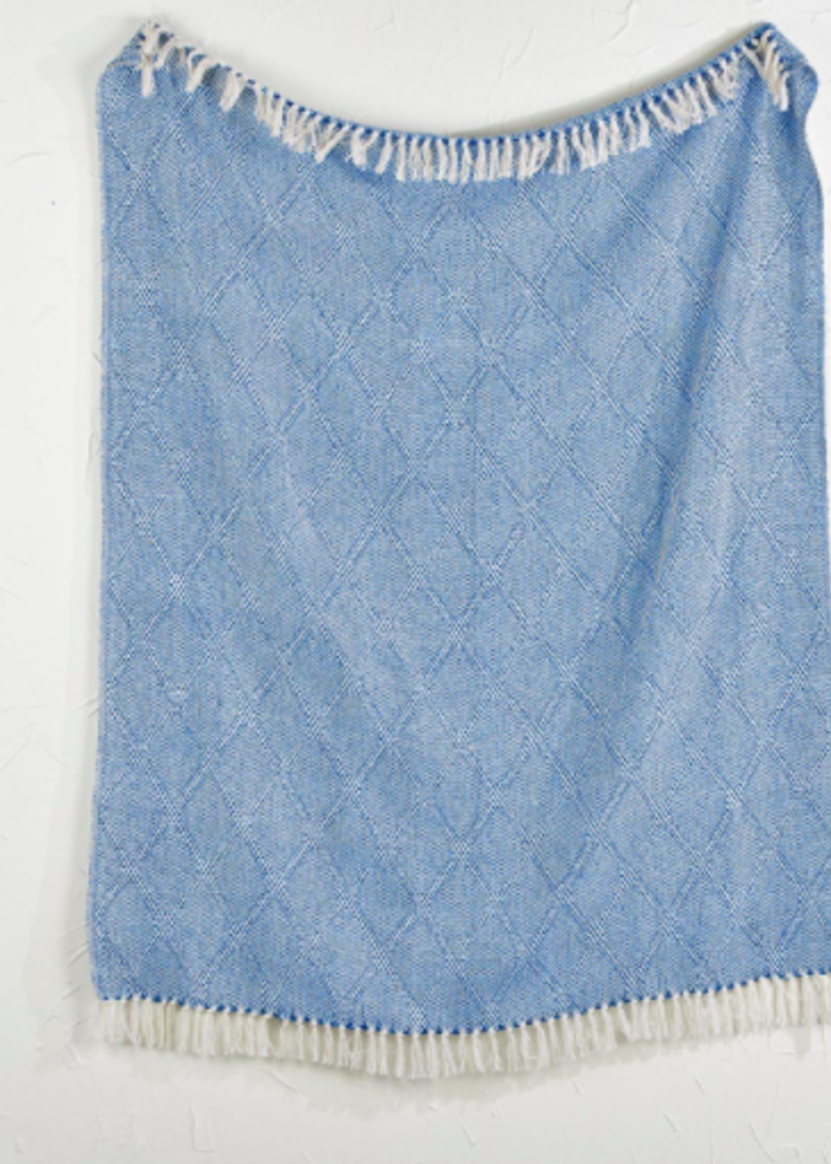Blue & White Throw Blanket With Tassels