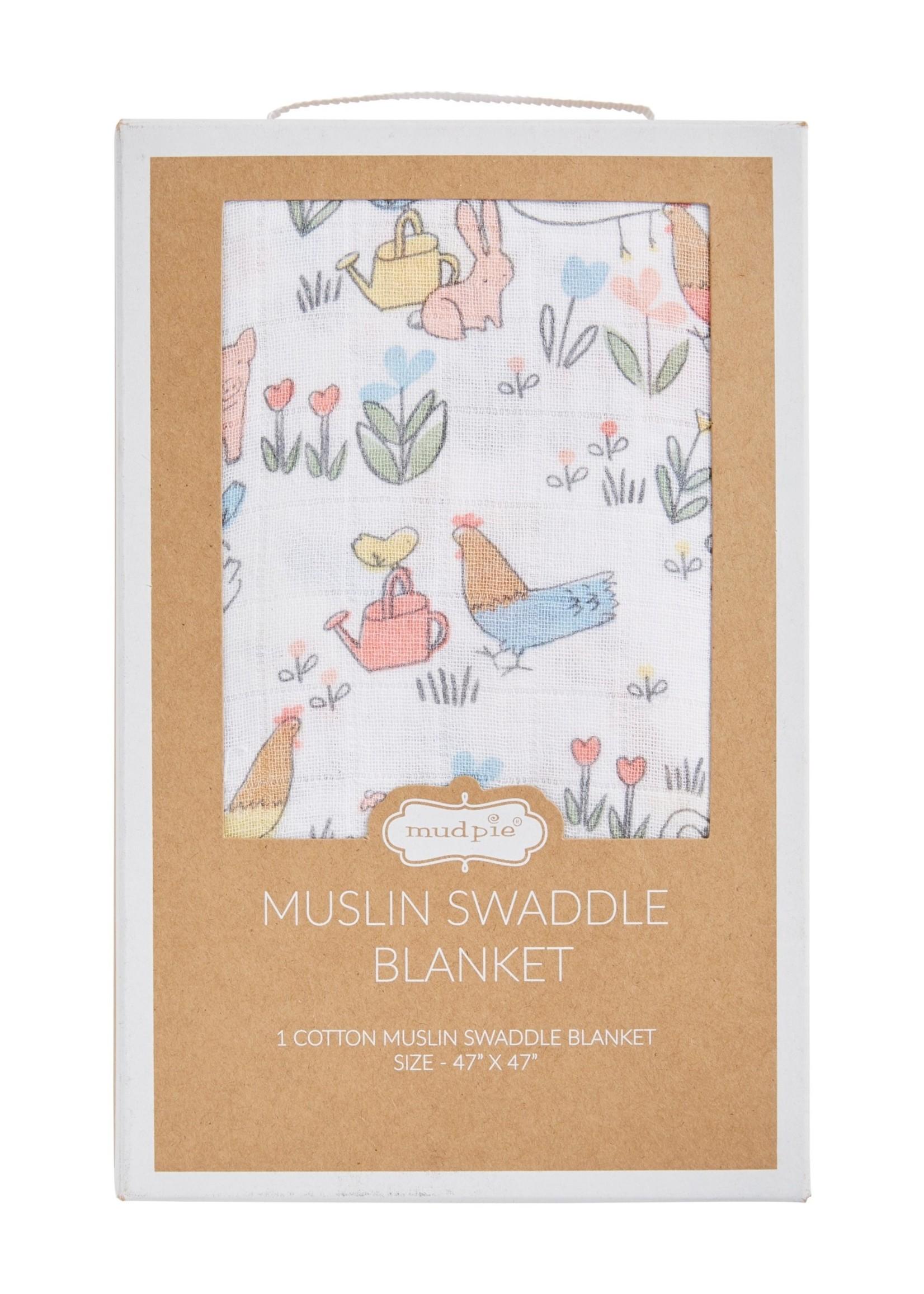 Chicken Floral Muslin Swaddle