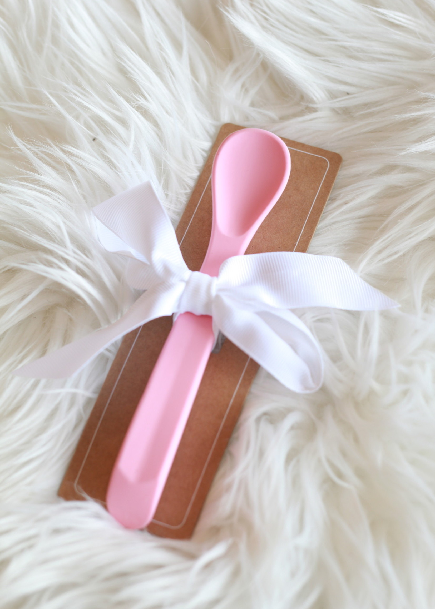 Pink Silicone Baby Spoon