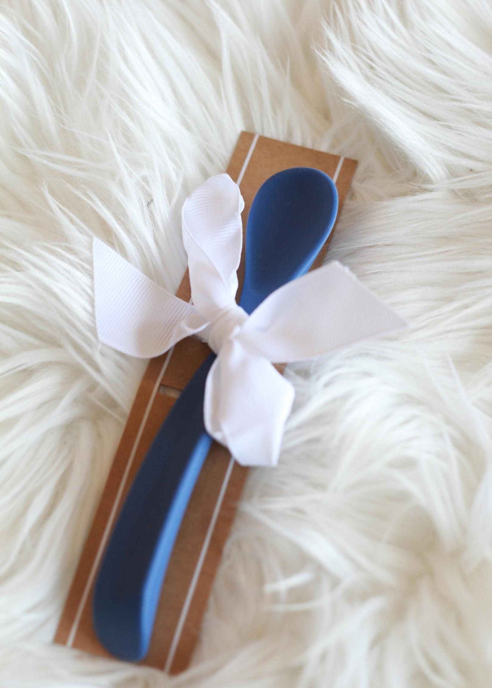 Blue Grey Silicone Baby Spoon