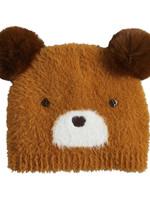 Mud Pie Brown Fuzzy Bear Knit Hat