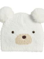Ivory Fuzzy Bear Knit Hat