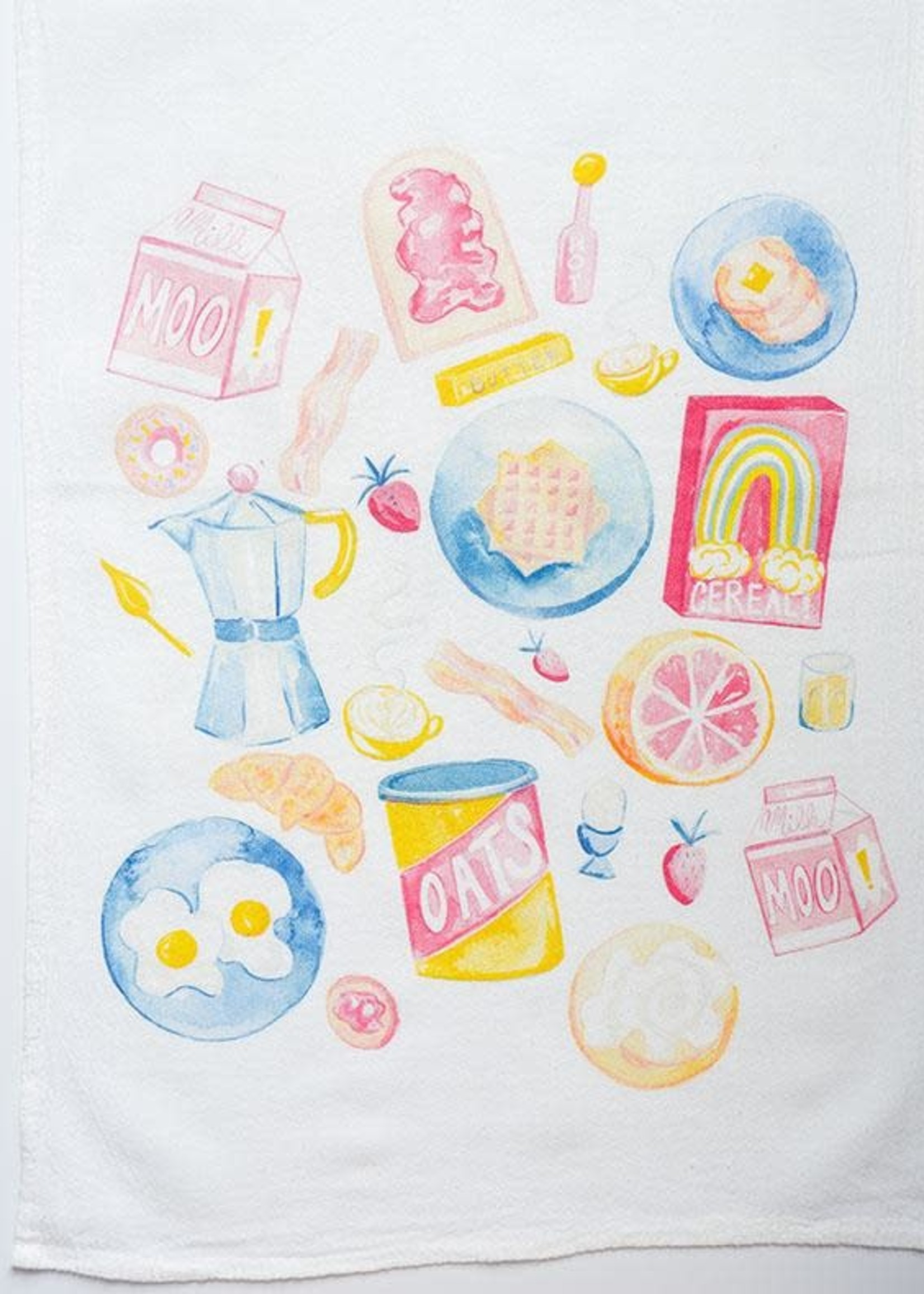 One & Only Paper Breakfast Time Petite Flour Sack Tea Towel