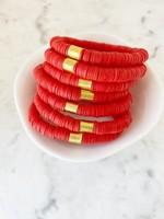 Mod Miss Jewelry Siam Red Heishi Bracelet Medium