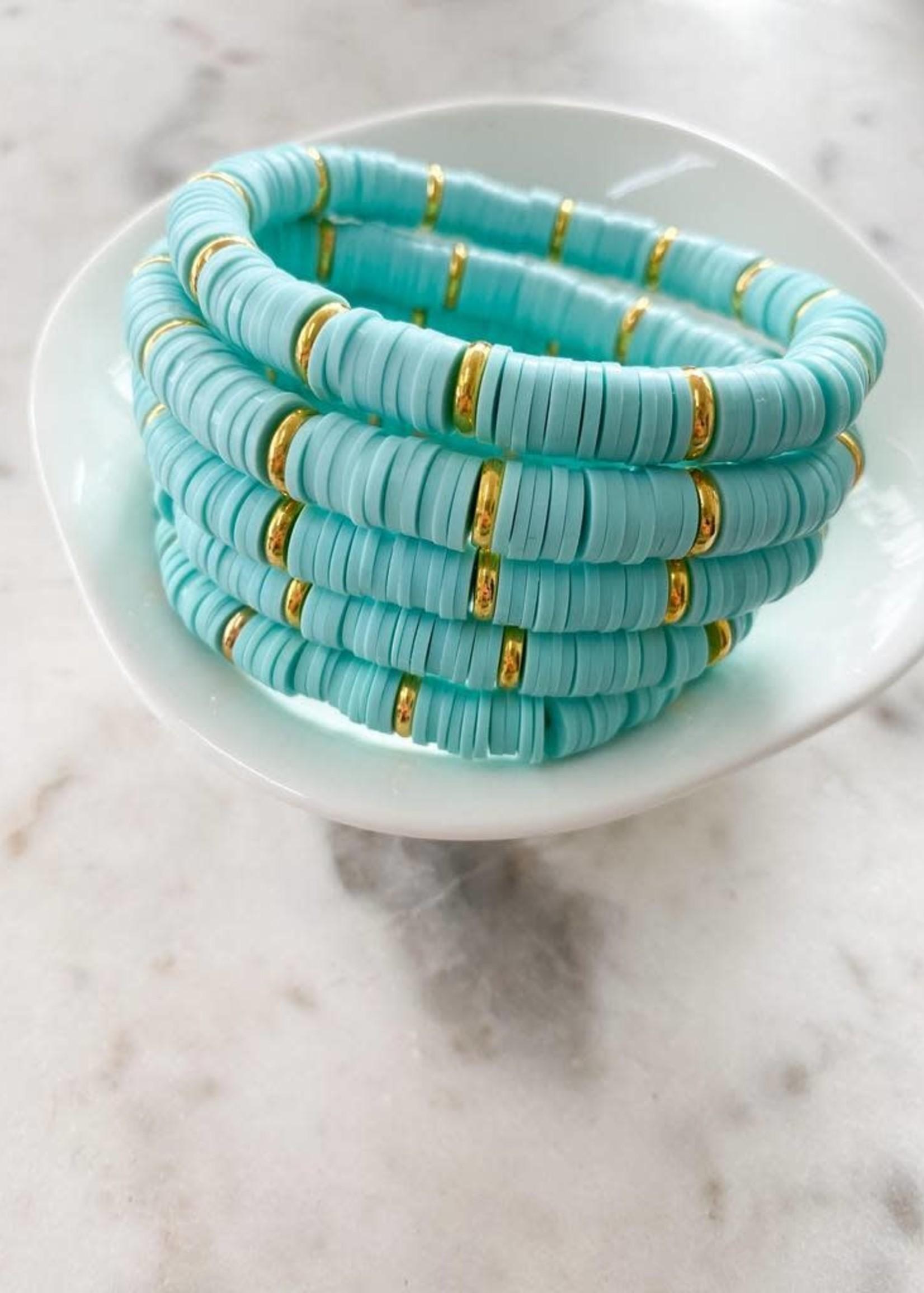 Mod Miss Jewelry Aqua Gold Disk Bracelet Medium