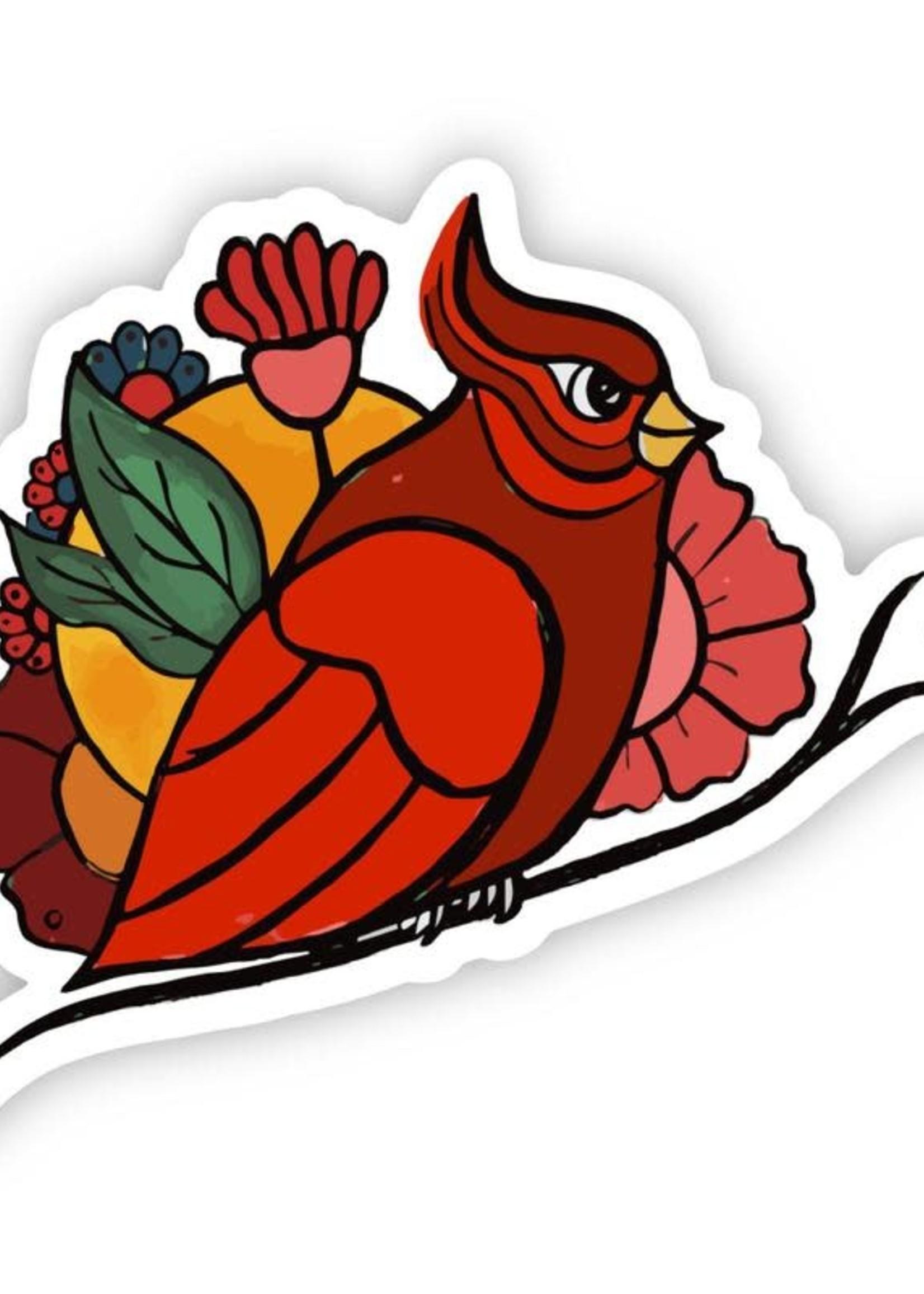 Cardinal Floral Sticker