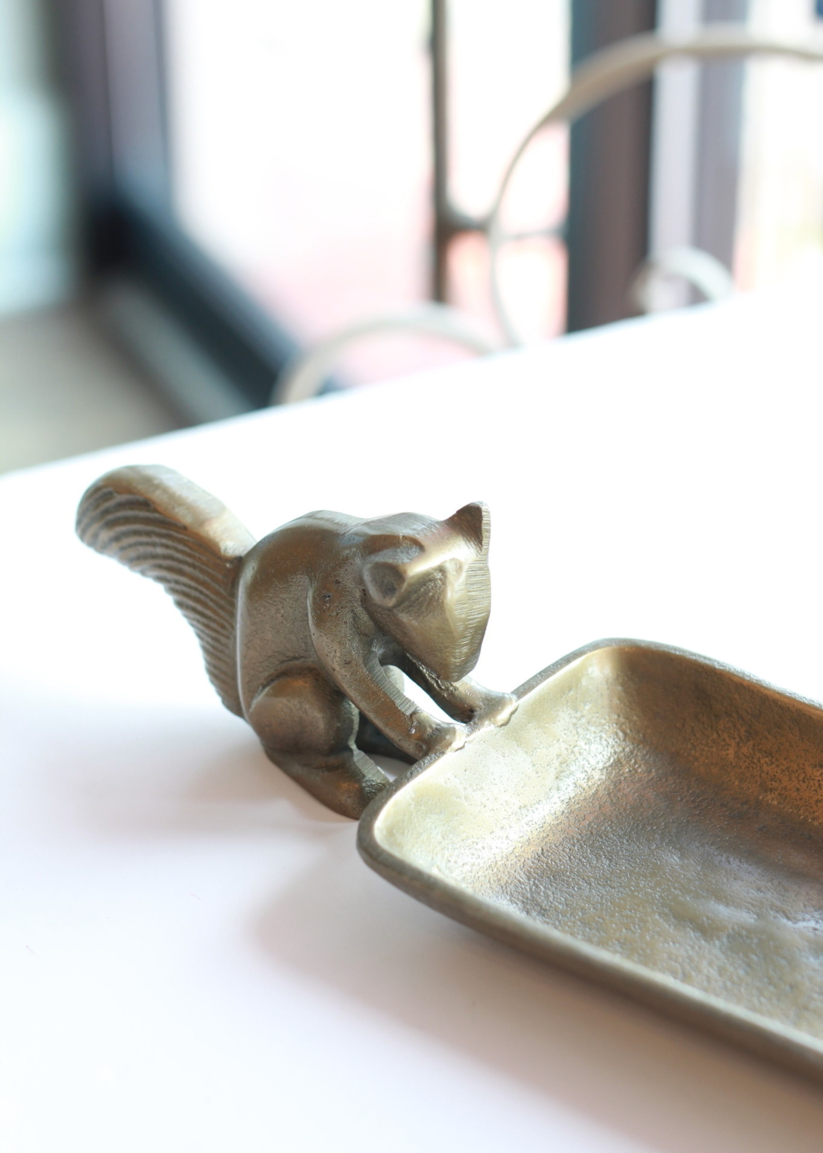 Metal Tray With Squirrel Handles Antique Gold Finish