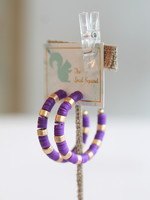 Local Squirrel Originals Purple Rubber Bead Hoop Earrings
