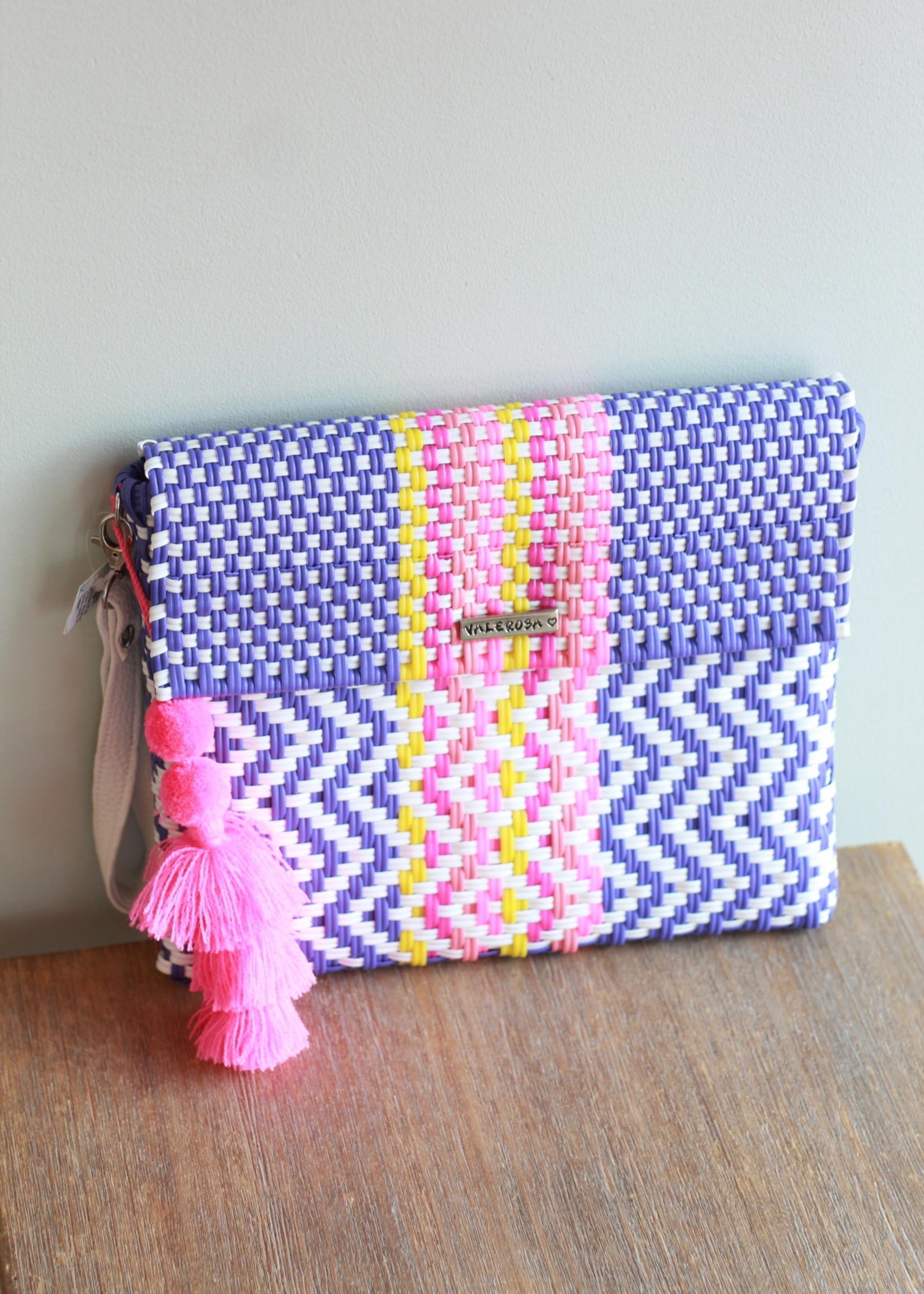 Valerosa Boutique Valerosa Pink & Purple Wristlet Clutch With Pink Tassel