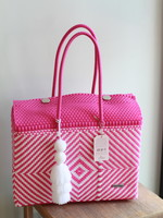 Valerosa Boutique Valersoa Pink and White Dia Duffle With White Tassel