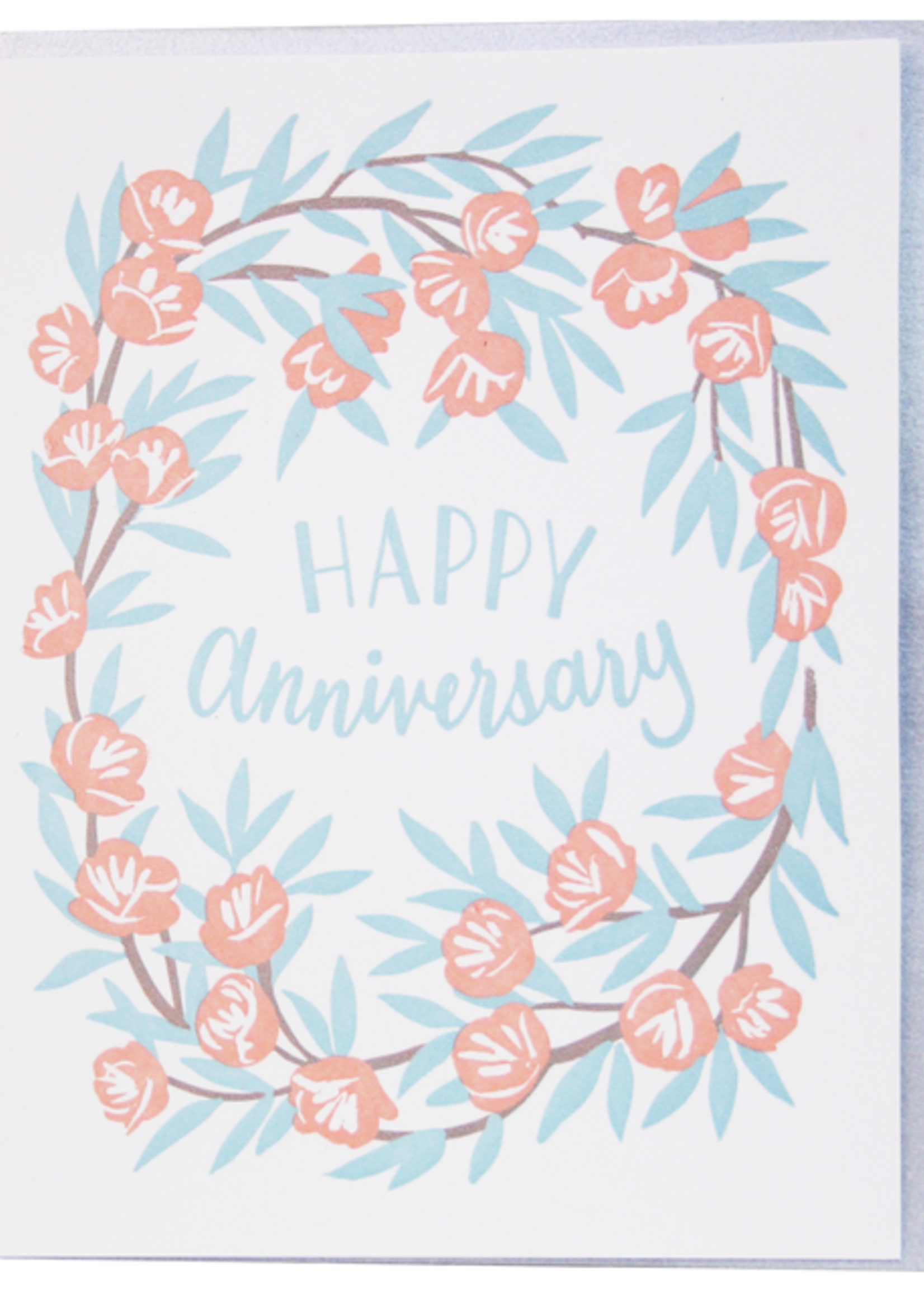 Peony Wreath Anniversary Card