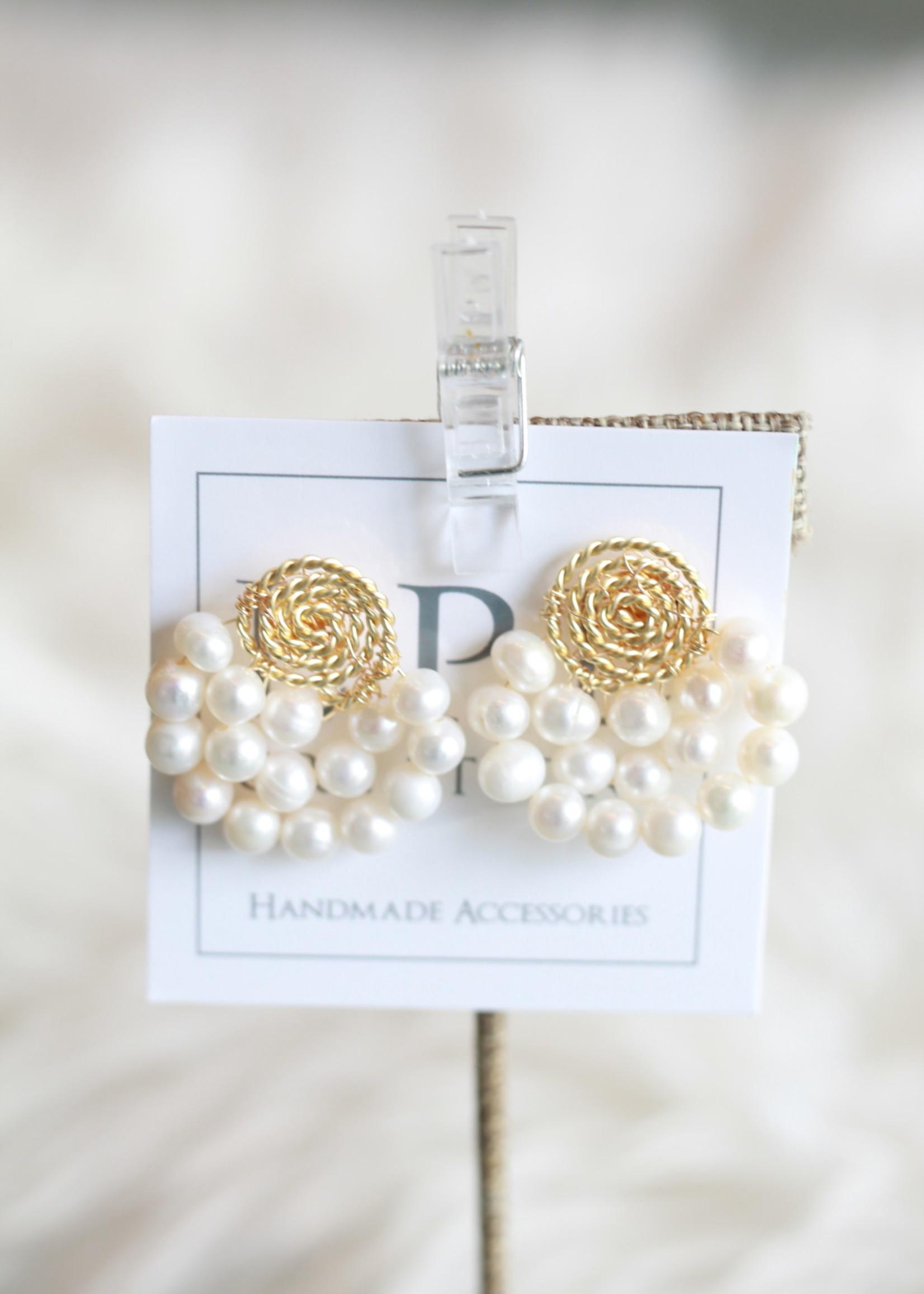 LPL Creations Haze Fan Earrings in Pearl