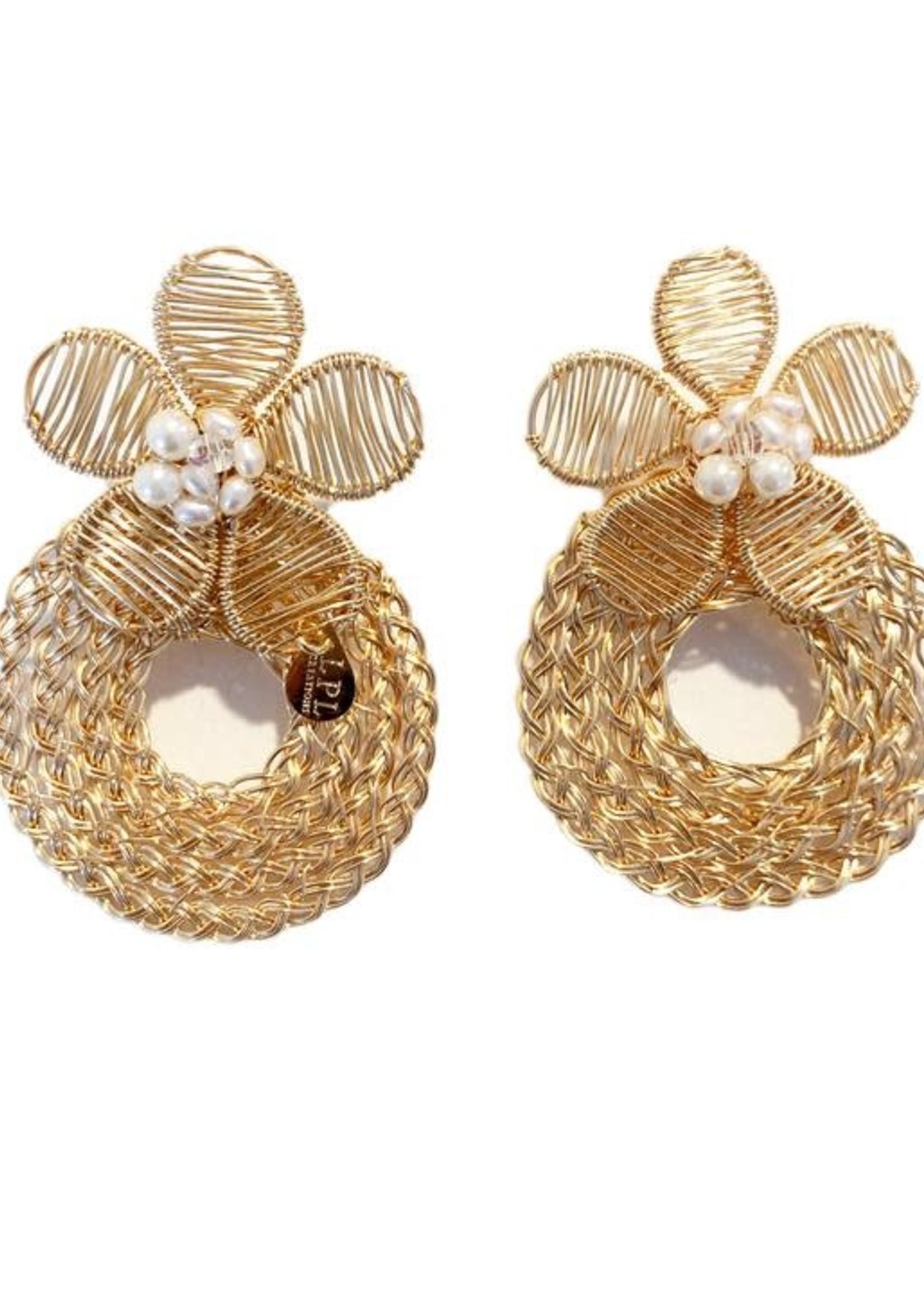 LPL Creations Simi Earrings in Floral Pearl