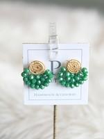 LPL Creations Green Wire Fan Earrings
