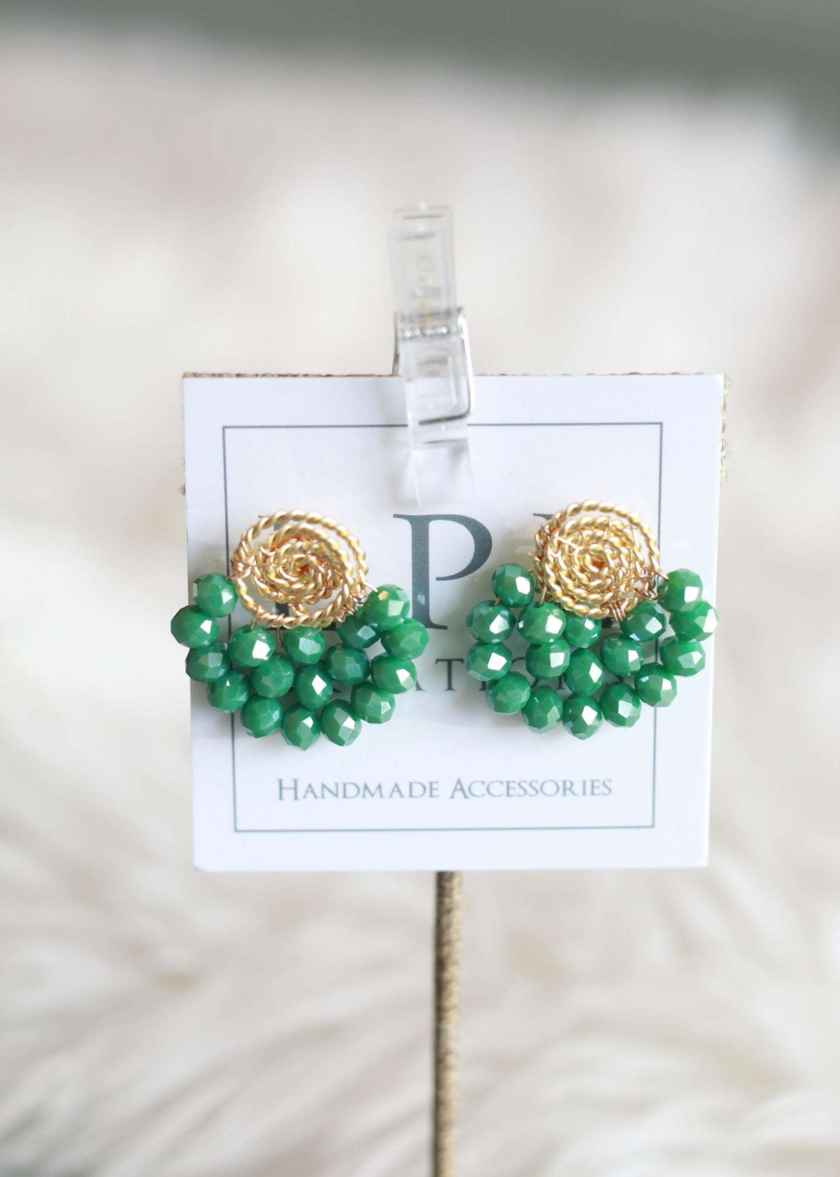 LPL Creations Haze Fan Earrings in Green