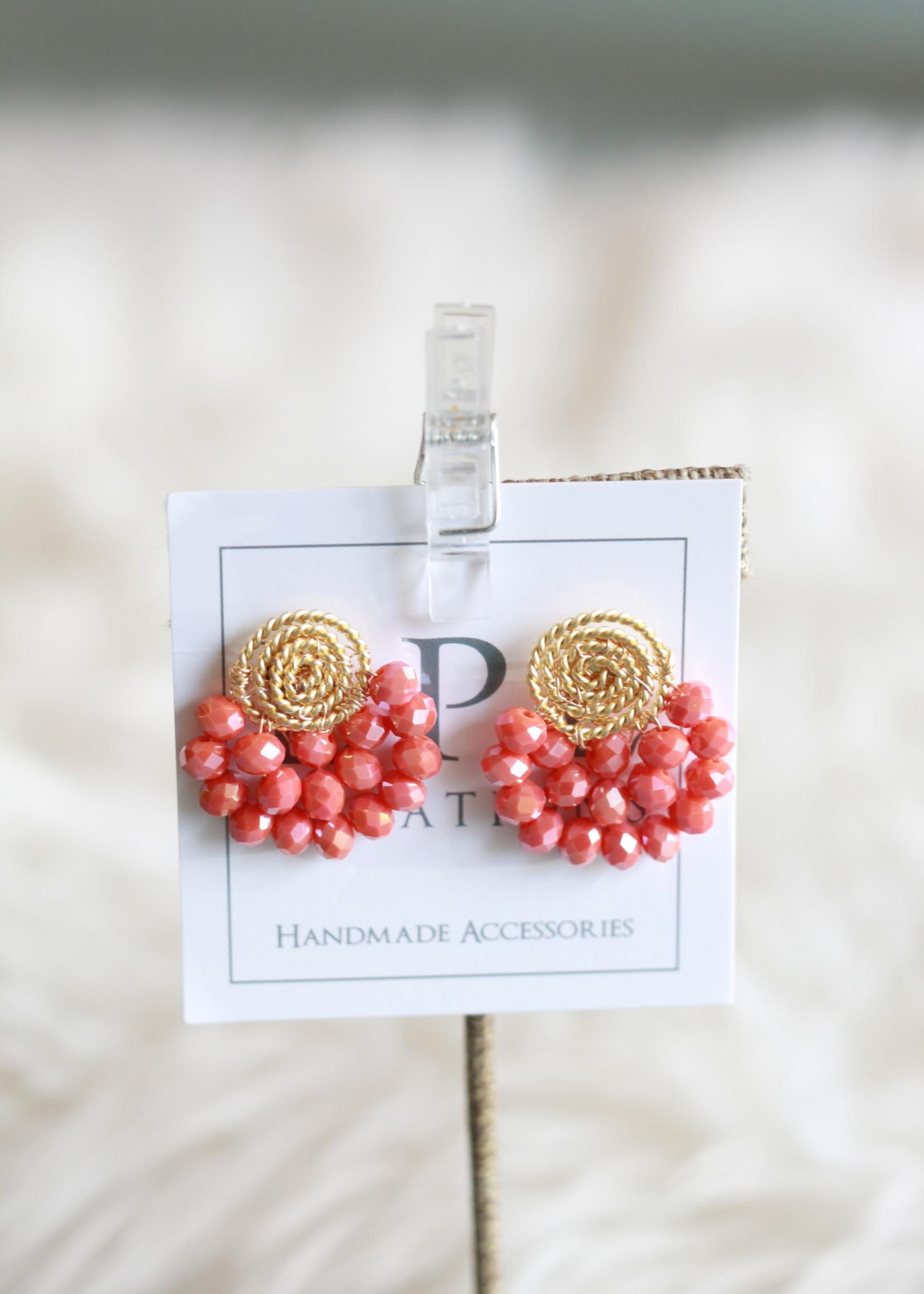 LPL Creations Haze Fan Earrings in Coral