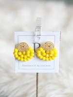 LPL Creations Yellow Wire Fan Earrings