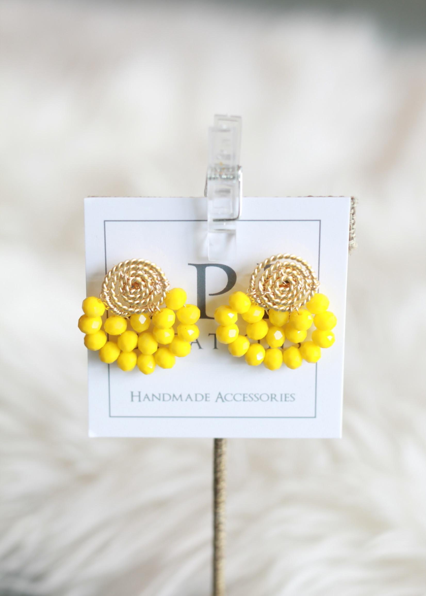 LPL Creations Haze Fan Earrings in Yellow