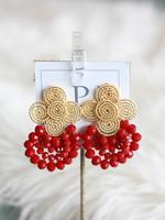 LPL Creations Red Wire Beaded Earrings