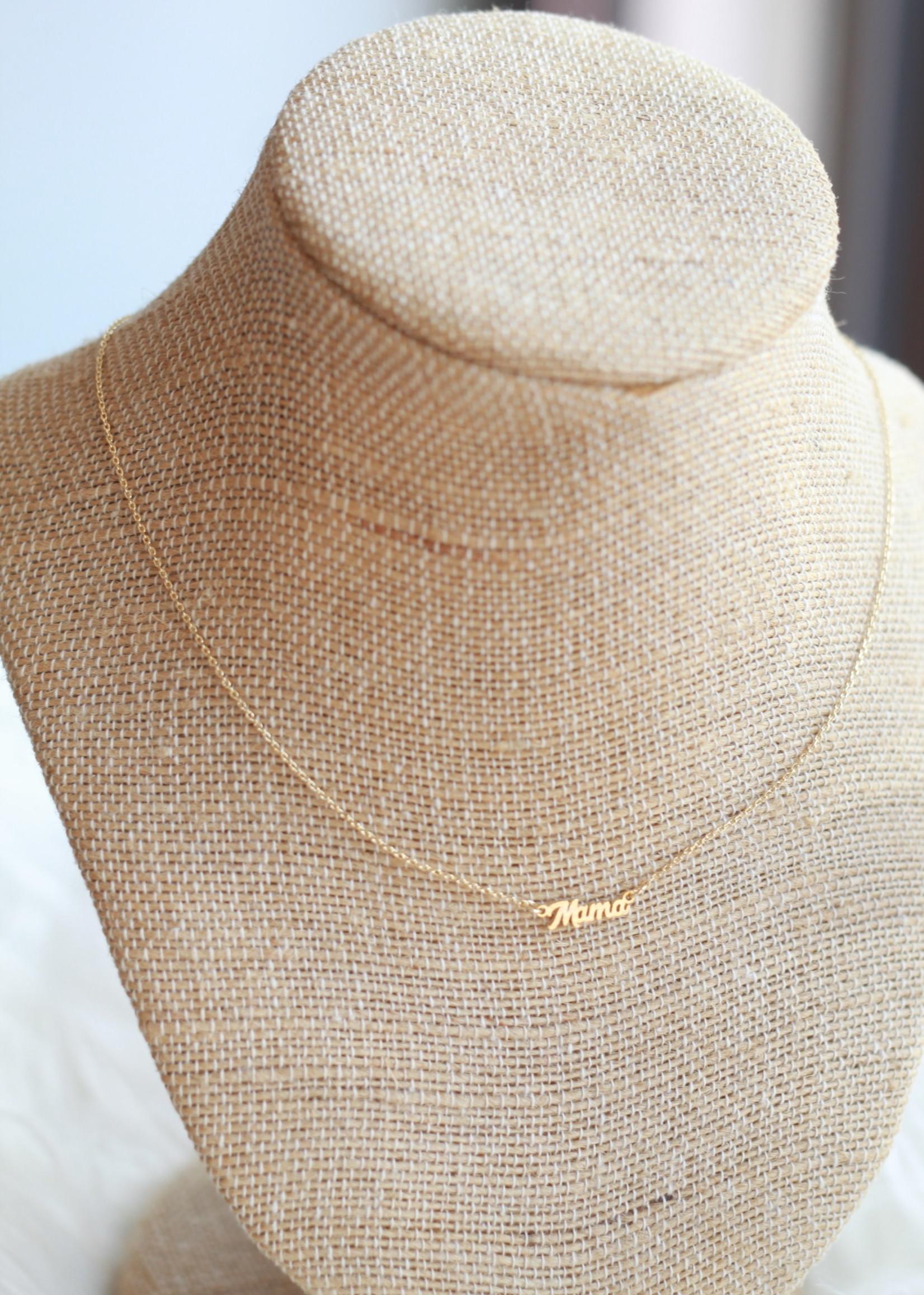 Local Squirrel Originals Dainty Cursive Gold Mama Necklace