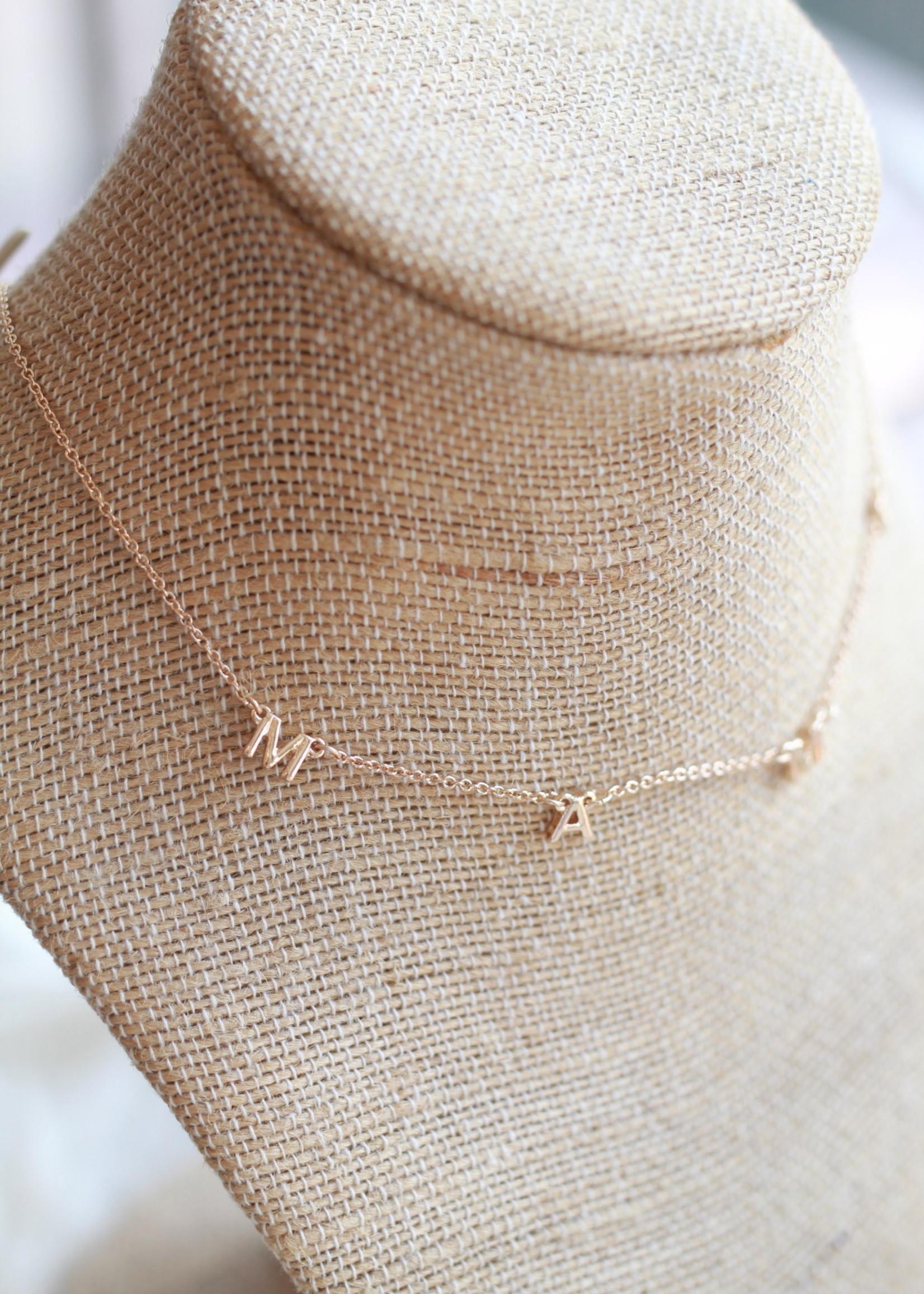 Local Squirrel Originals Gold MAMA Letter Necklace