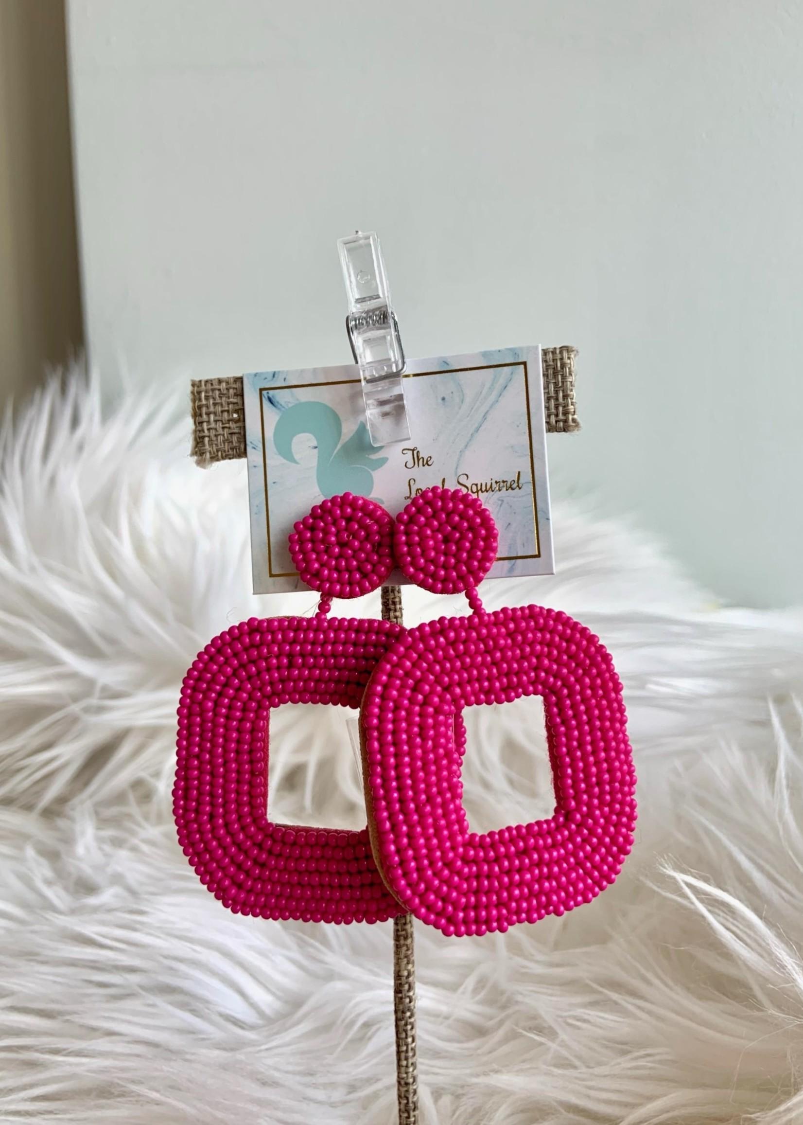 Local Squirrel Originals Dark Pink Beaded Earrings