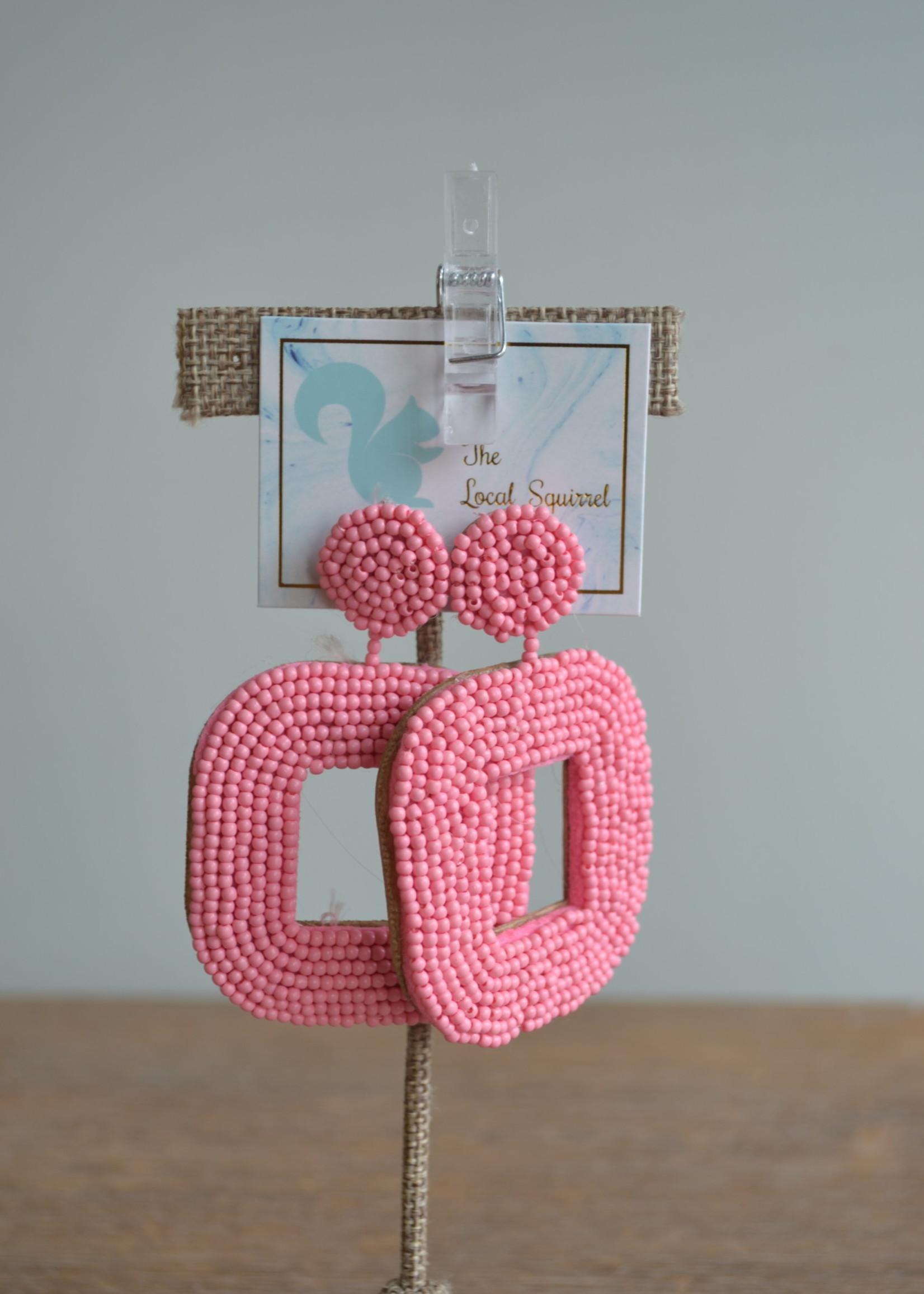 Local Squirrel Originals Baby Pink Beaded Earrings