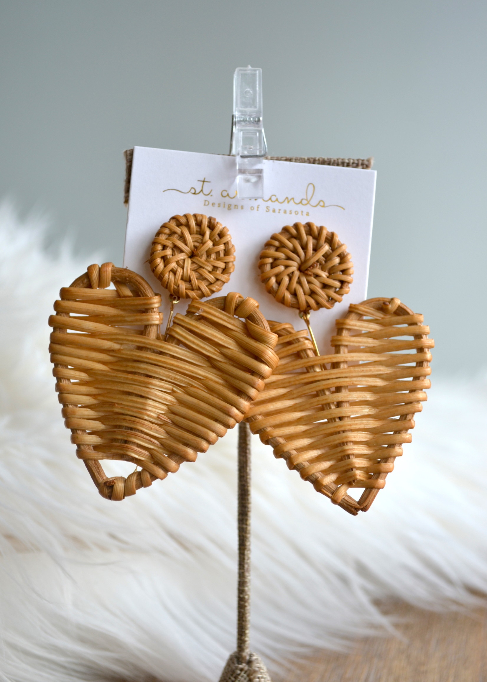 St Armands Designs of Sarasota Natural Rattan Heart Earrings