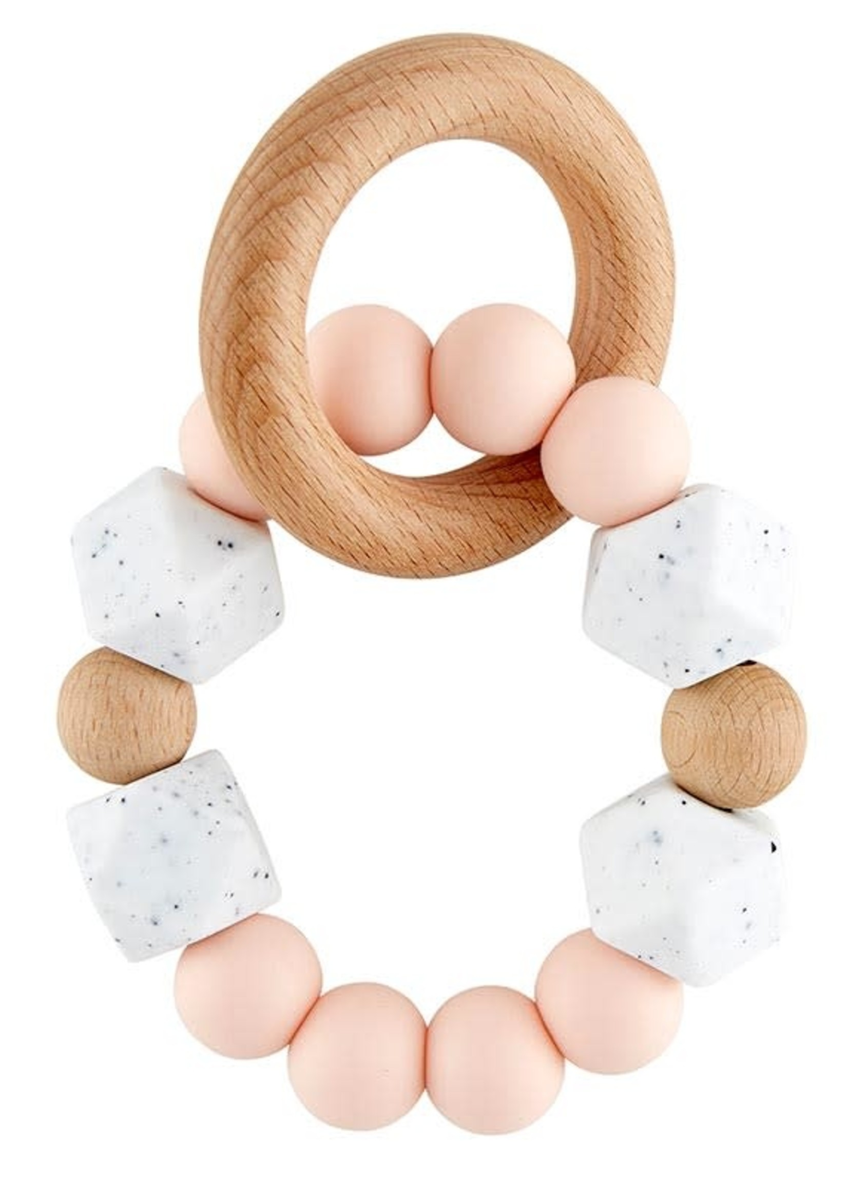 Silicone Wood Teether Pink