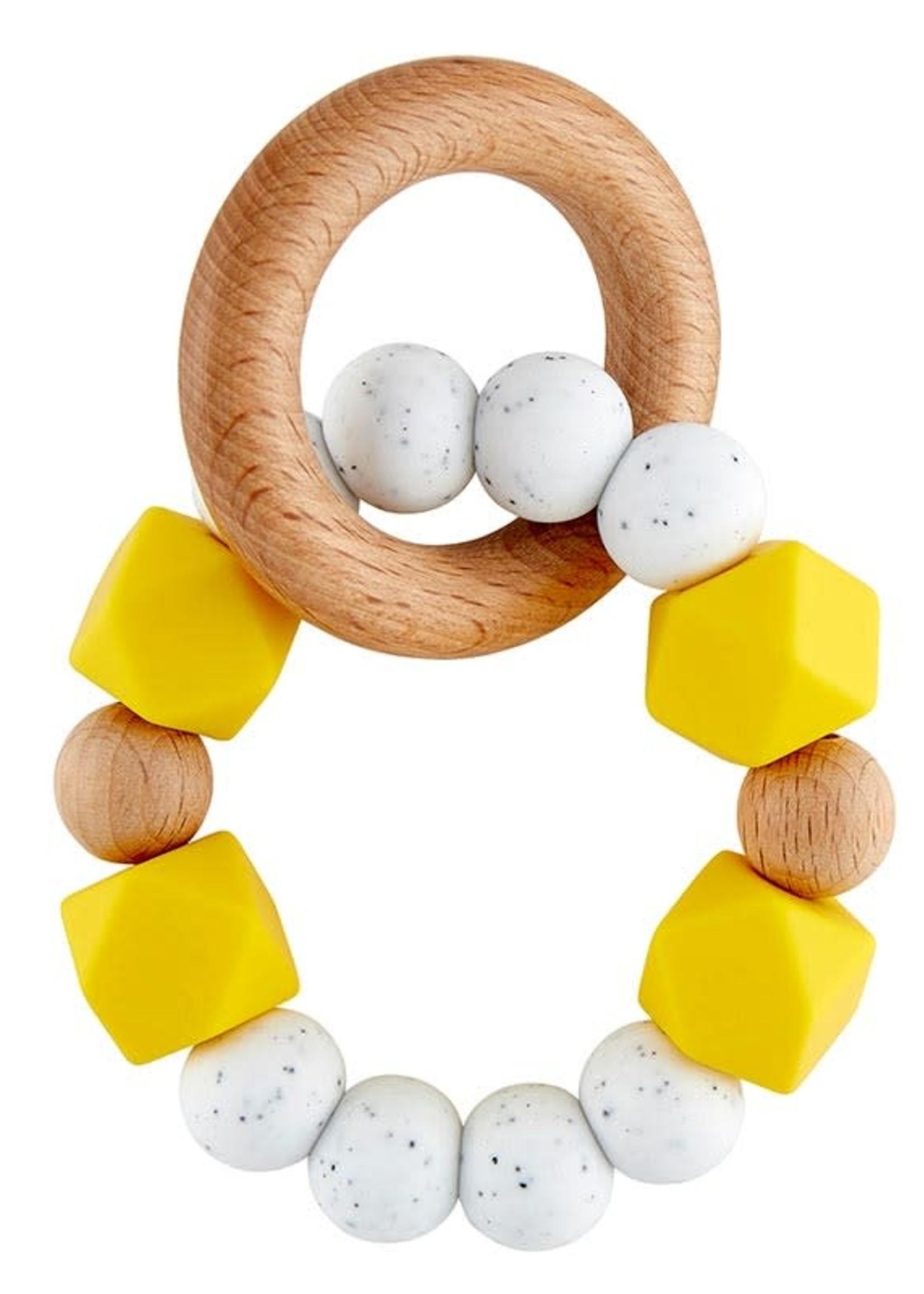 Silicone Wood Teether Yellow