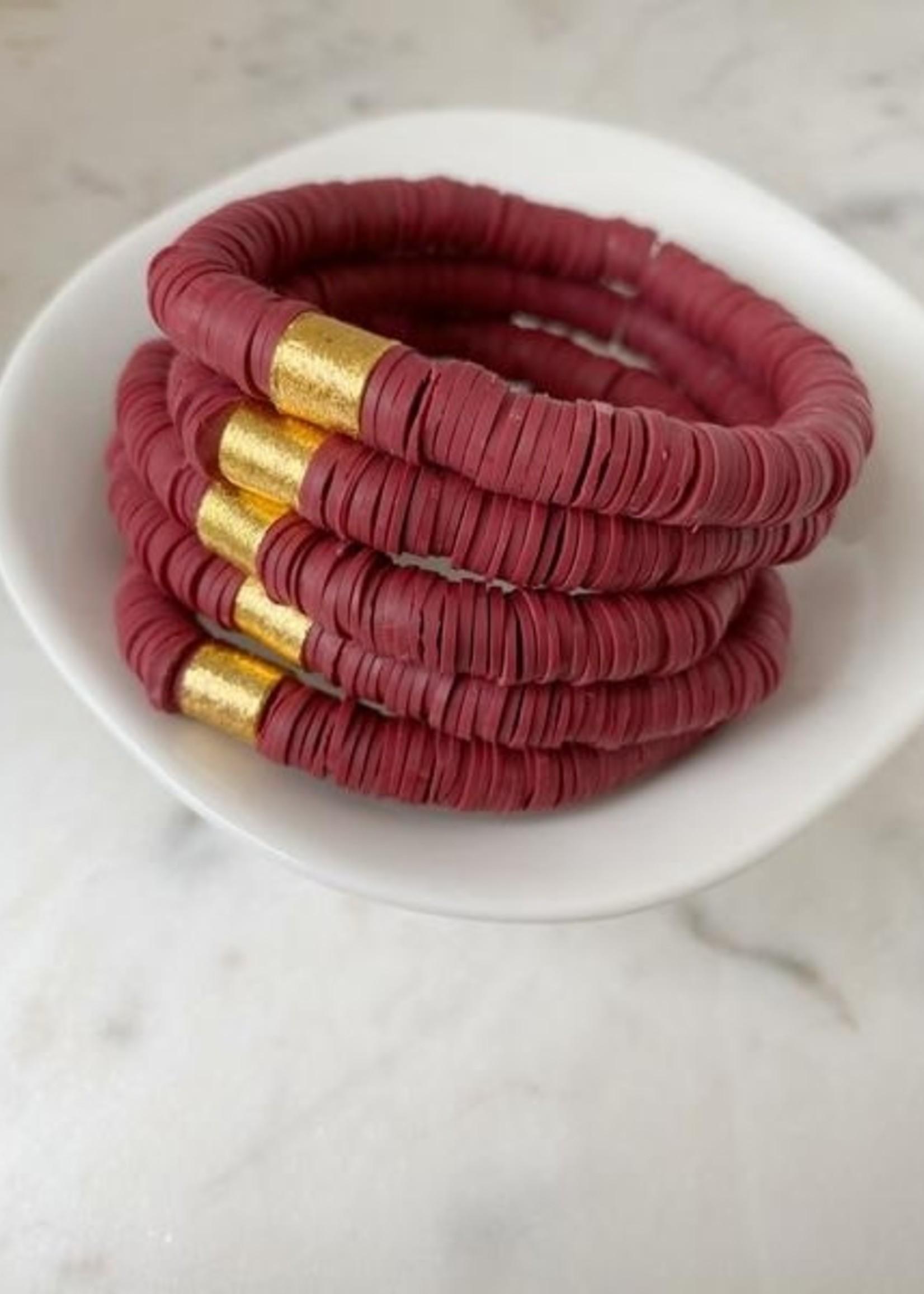 Mod Miss Jewelry Maroon Heishi Bracelet Medium