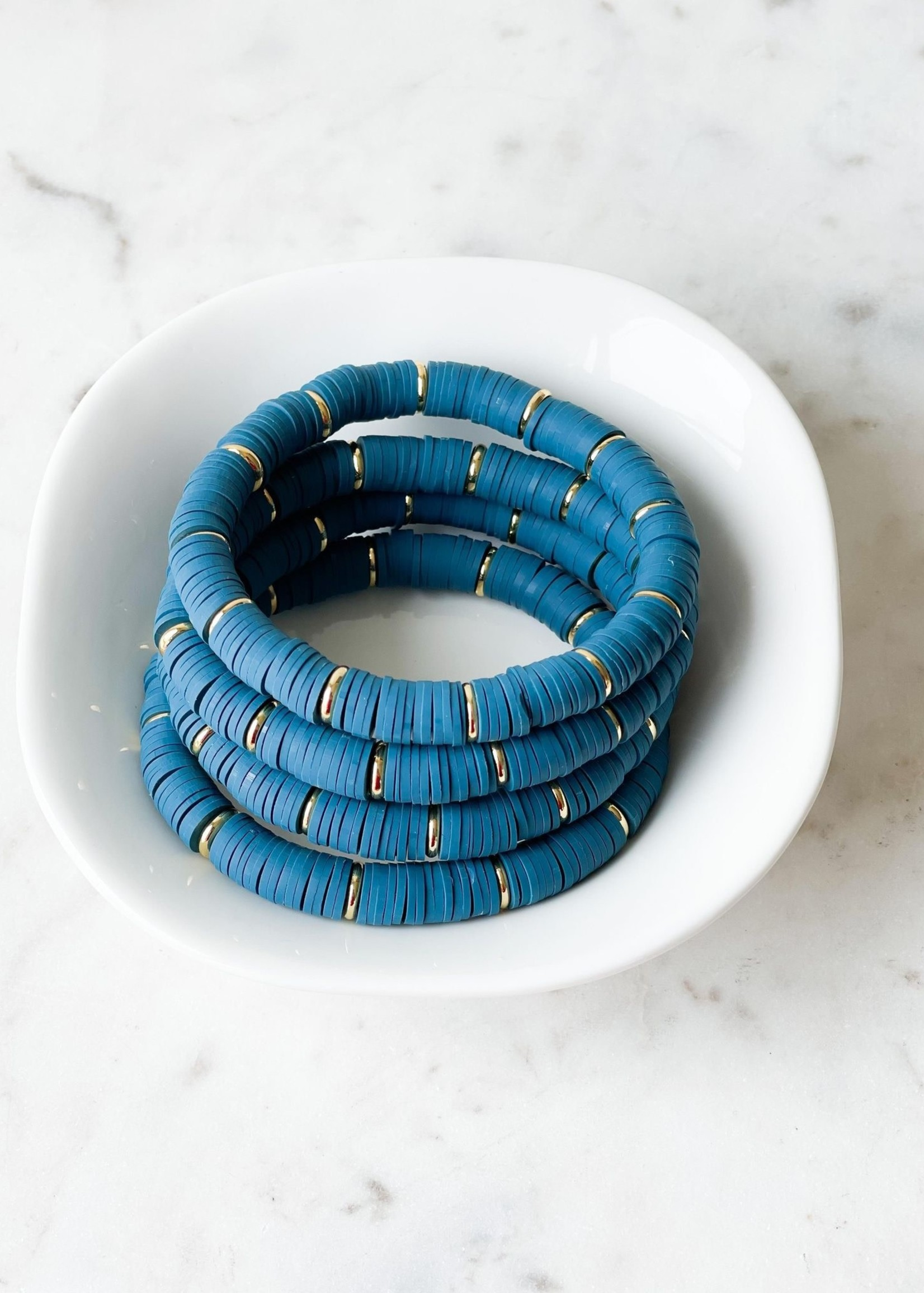 Mod Miss Jewelry Teal Blue Heishi Bracelet Medium