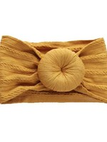 Emerson and Friends Cable Knit Bun Headband in Mustard