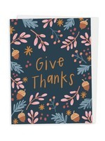 Happy Tines Give Thanks Floral Acorn Card