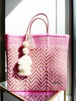 Valerosa Boutique Valerosa Pink and Gold Playera Bag with Beige Tassel